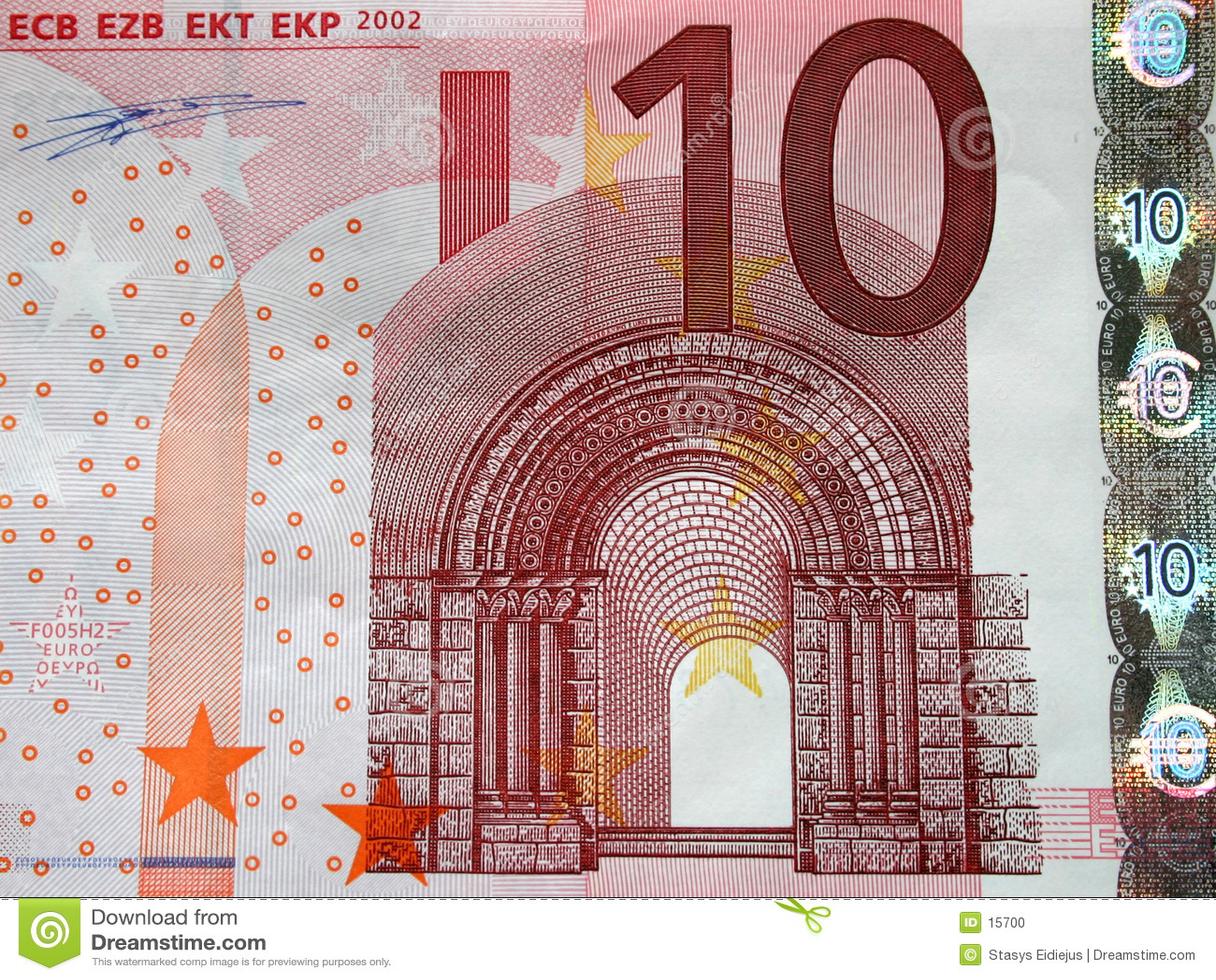 10 Euros bill close-up, detail