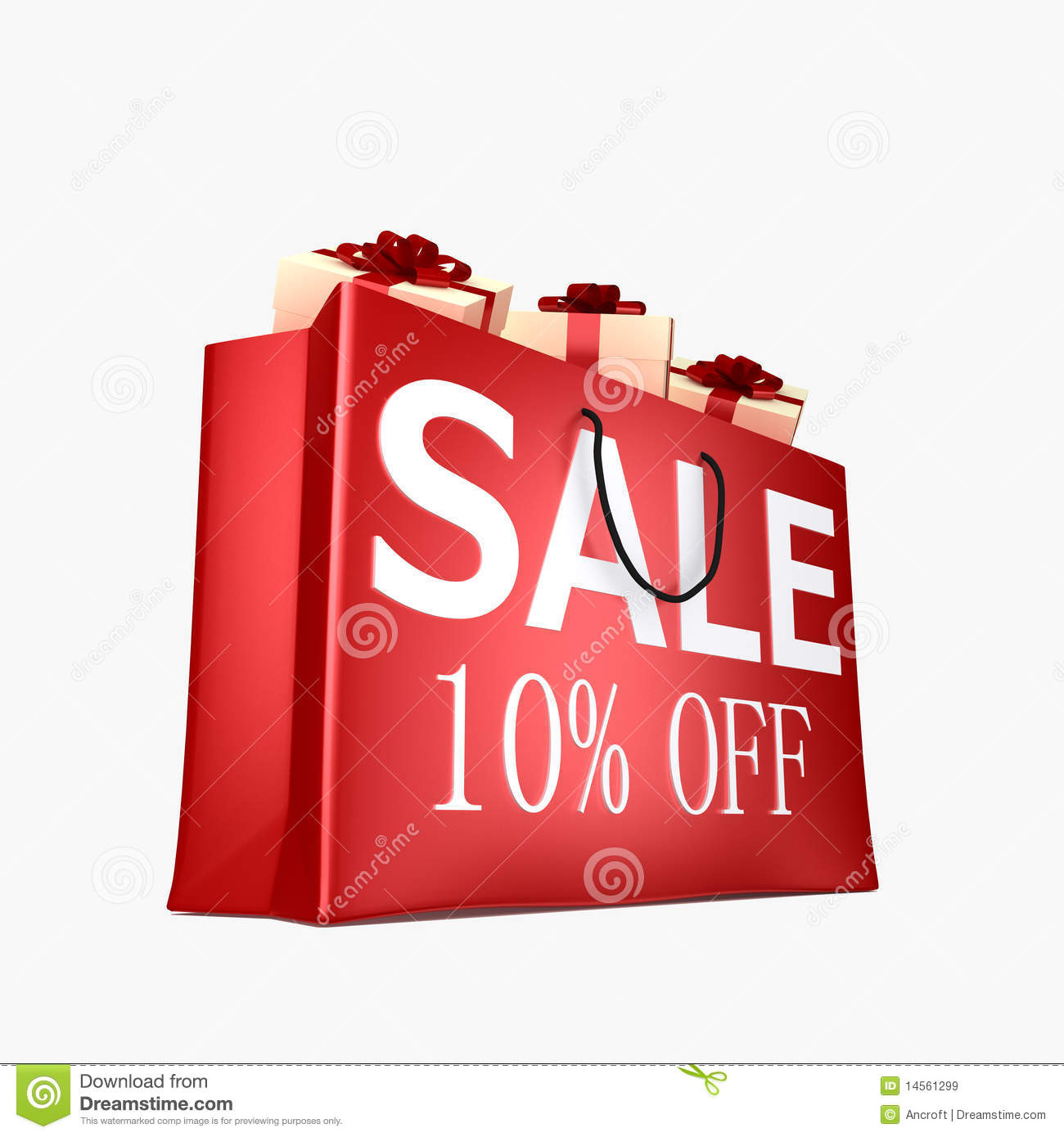 10  off shopping bag royalty free stock images