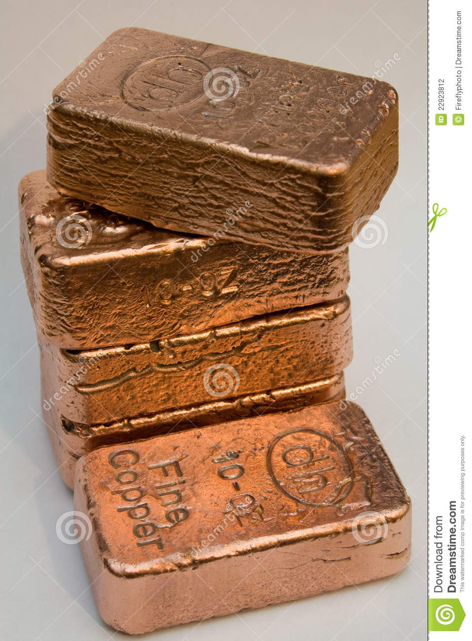 10 Ounce Pure Copper Bullion Bars Editorial Photography
