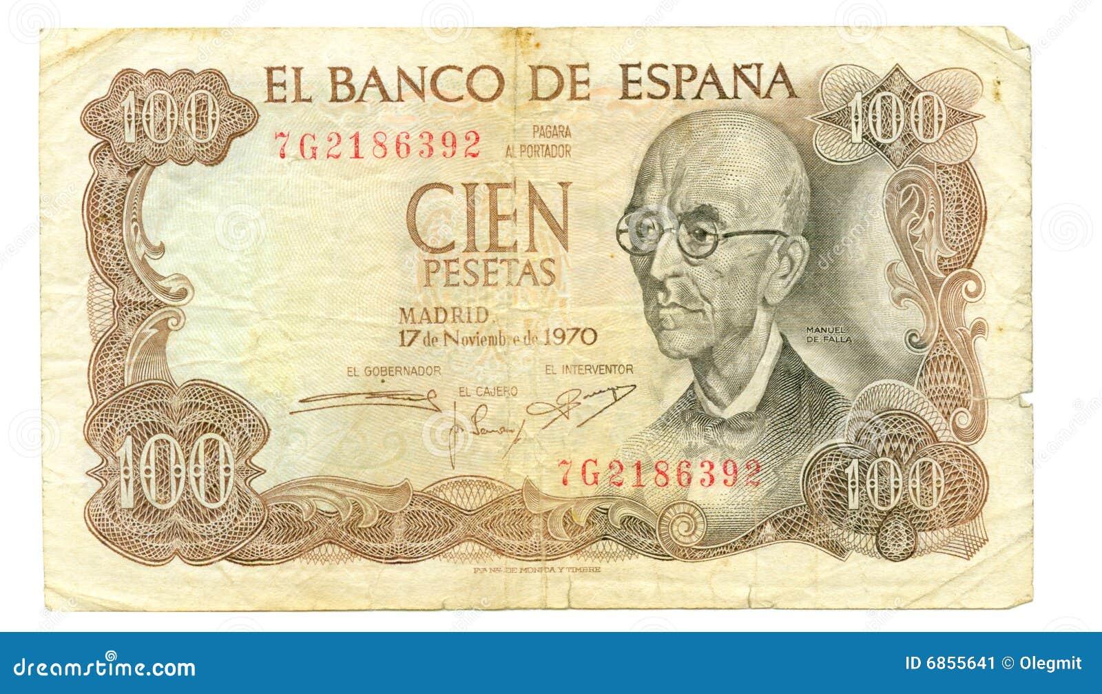 100 1970 представляют счет peseta Испания
