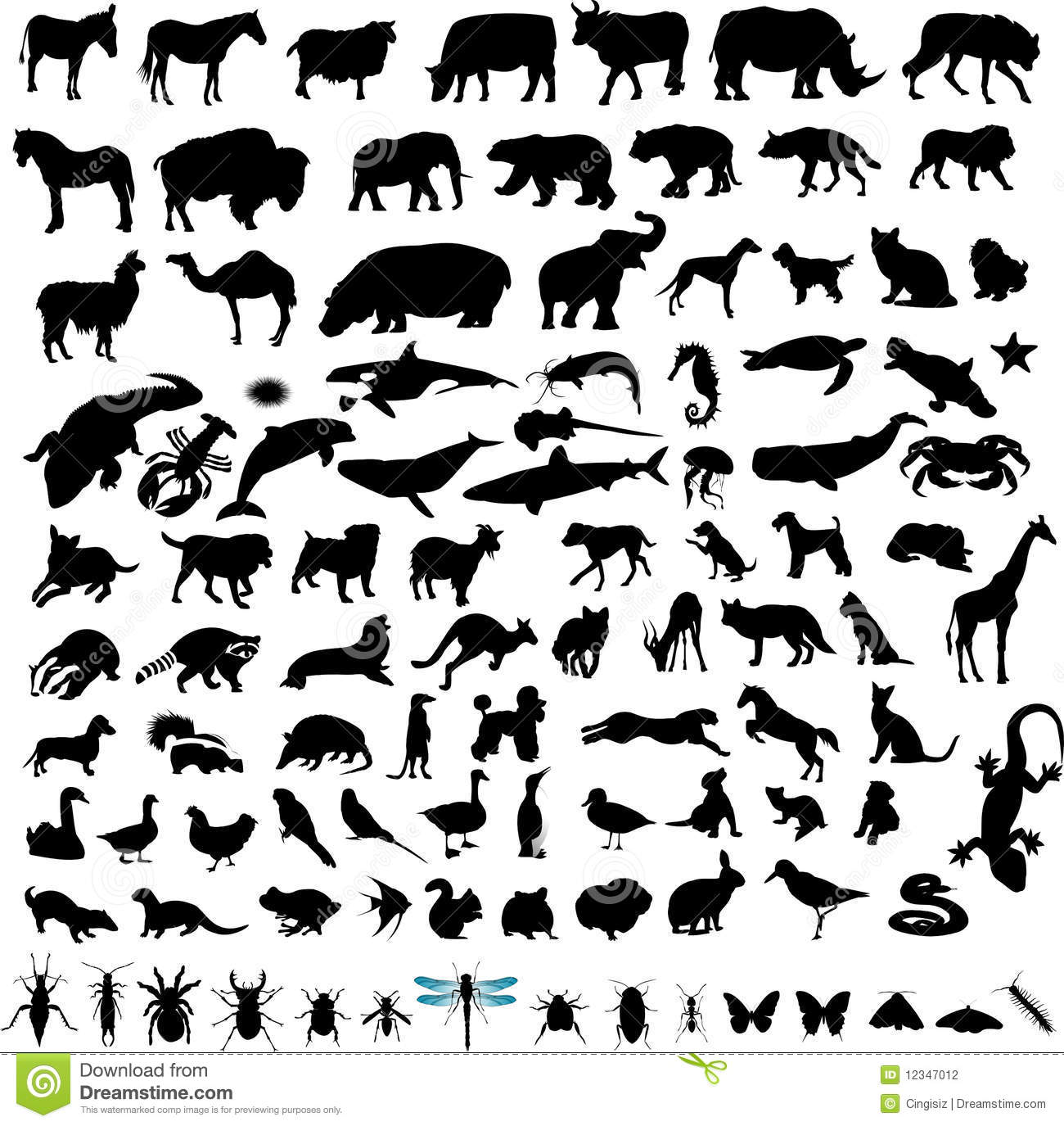 100 animals silhuette set stock vector  image of goose