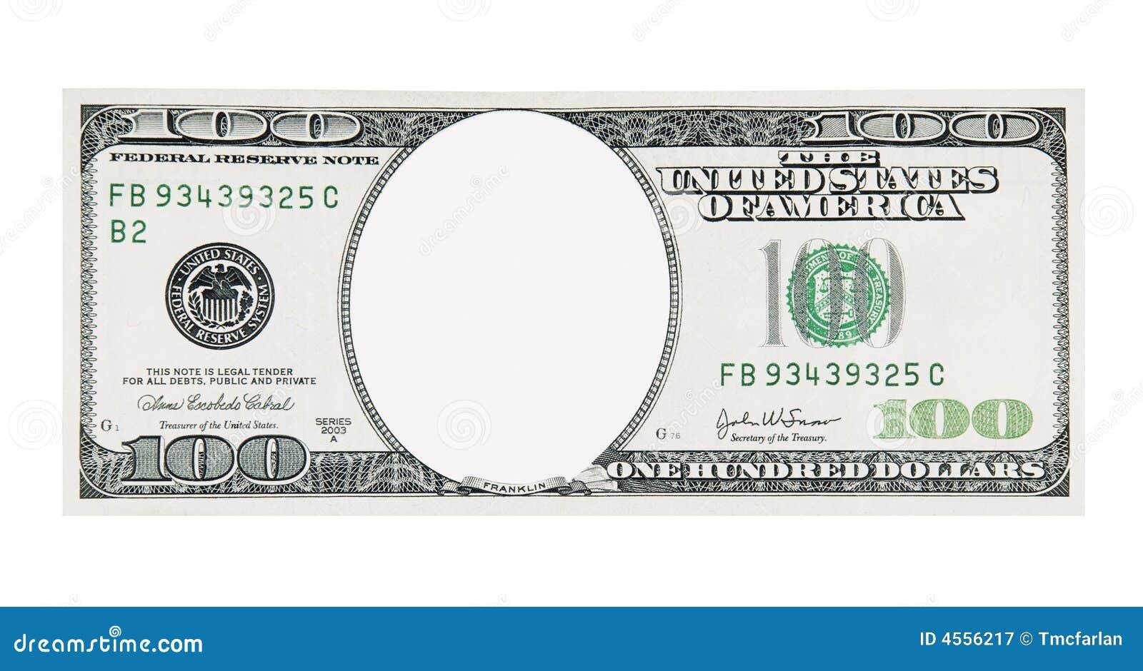 100 banknotów dolar front bez twarzy