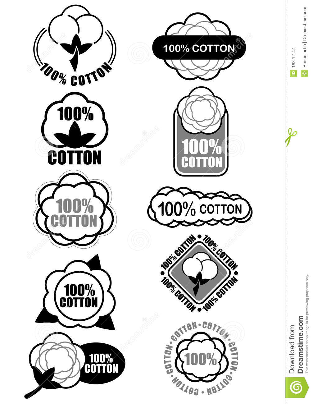 100 Cotton Seals Marks Stock Vector Image Of Cotton 16379144