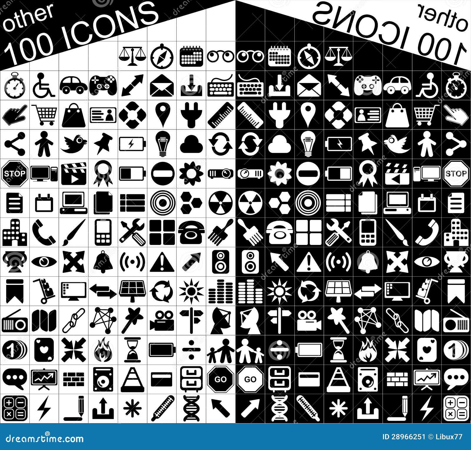 100 Czarny I Biały sieci i zastosowań ikon