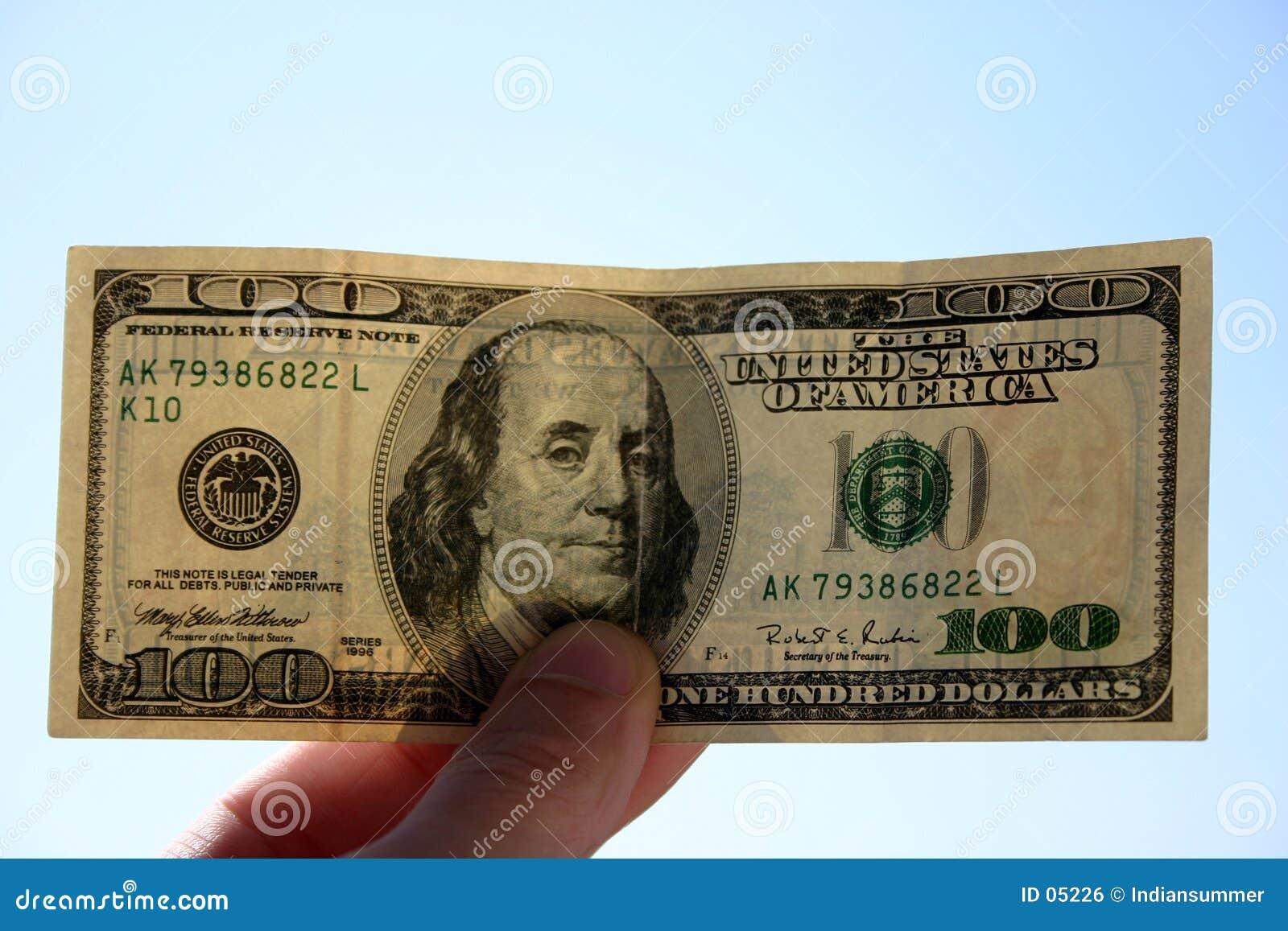100 dólares de nota de banco