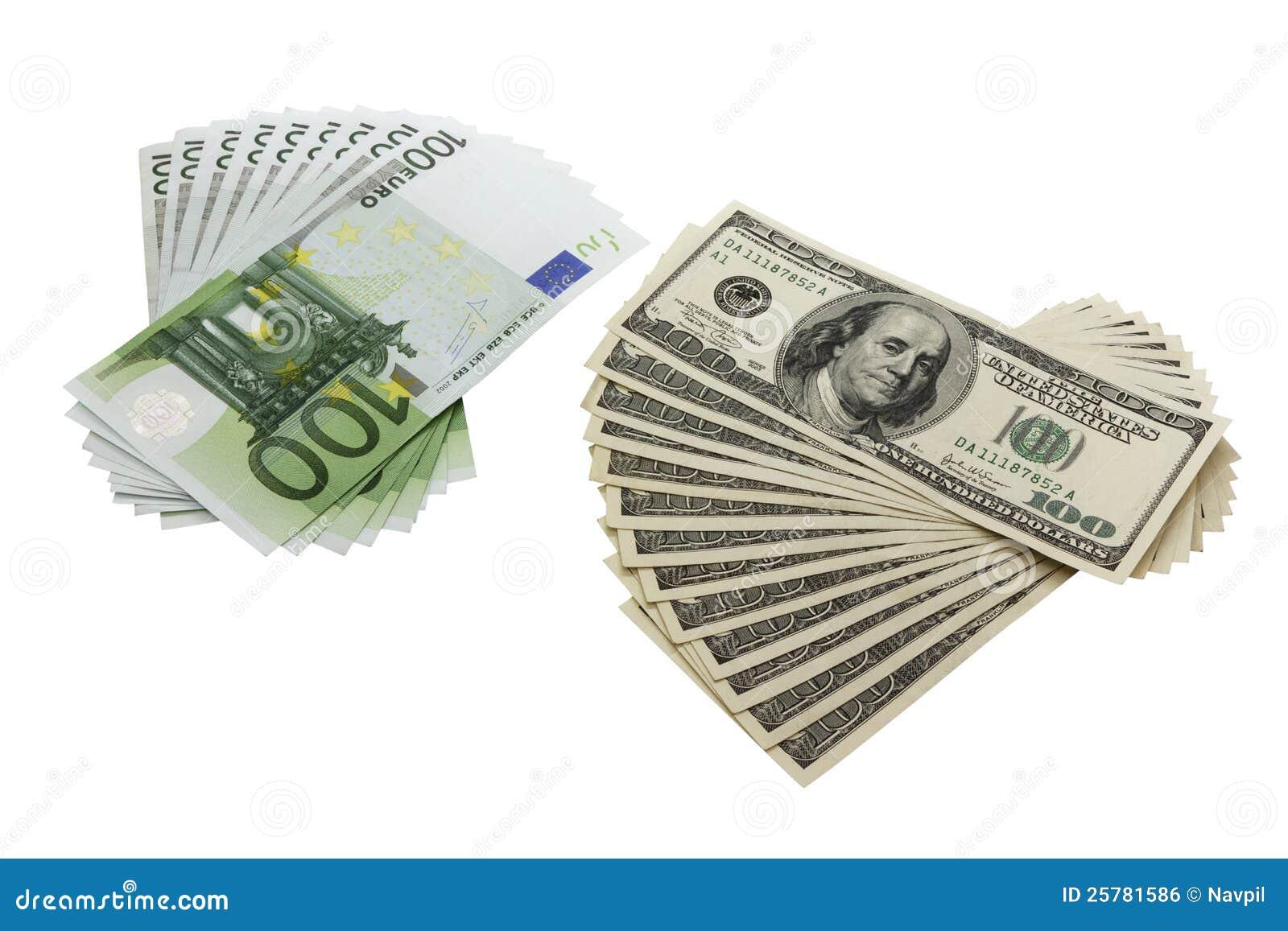 100 dollari ed euro banconote immagine stock libera da diritti immagine 25781586. Black Bedroom Furniture Sets. Home Design Ideas