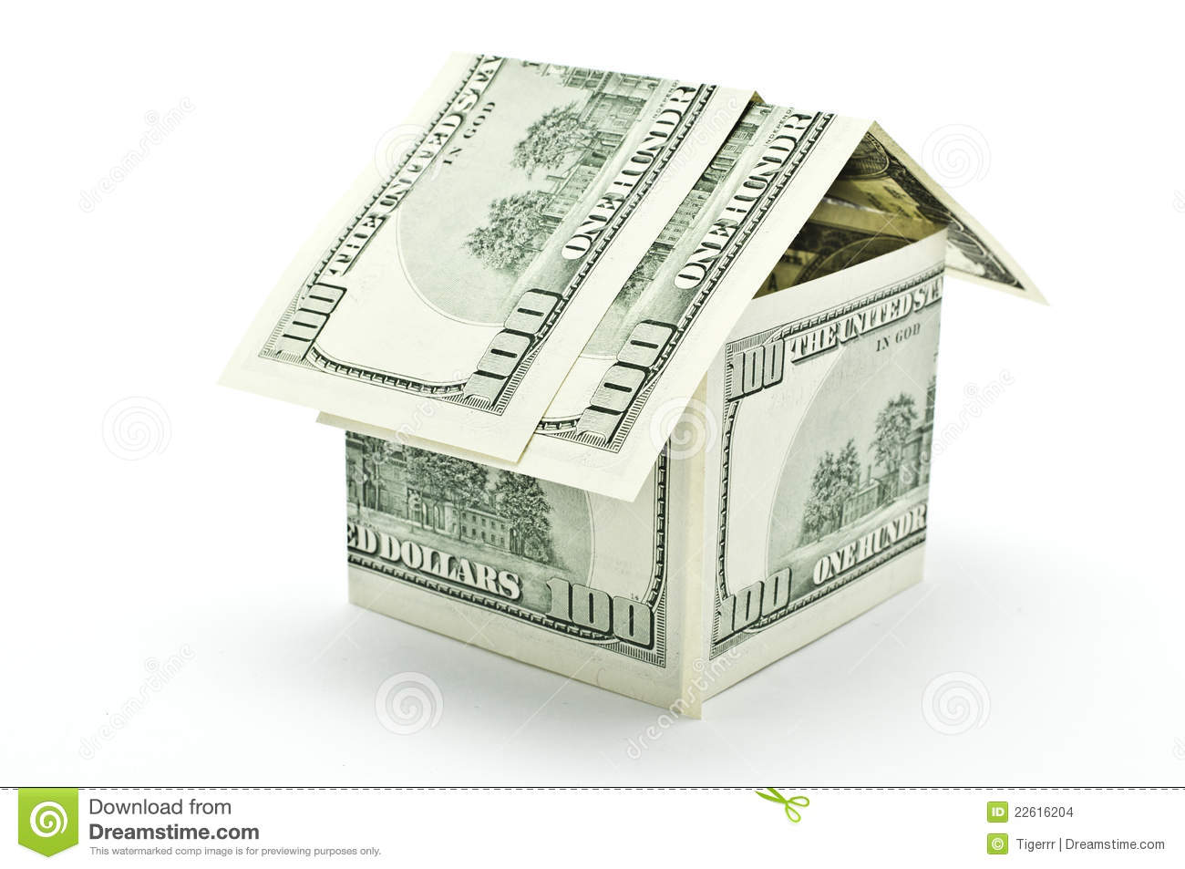 100 dollars money house stock images image 22616204 for Build a house for under 5000 dollars