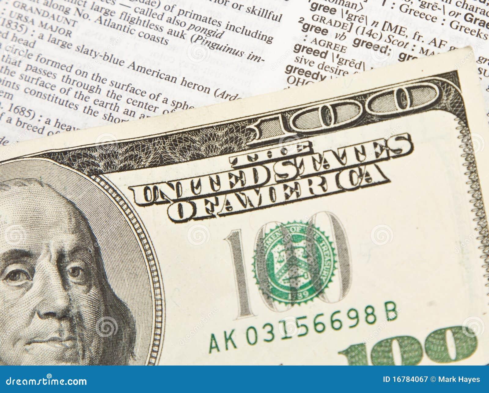 100 Dollarschein-Auszug - Habsucht