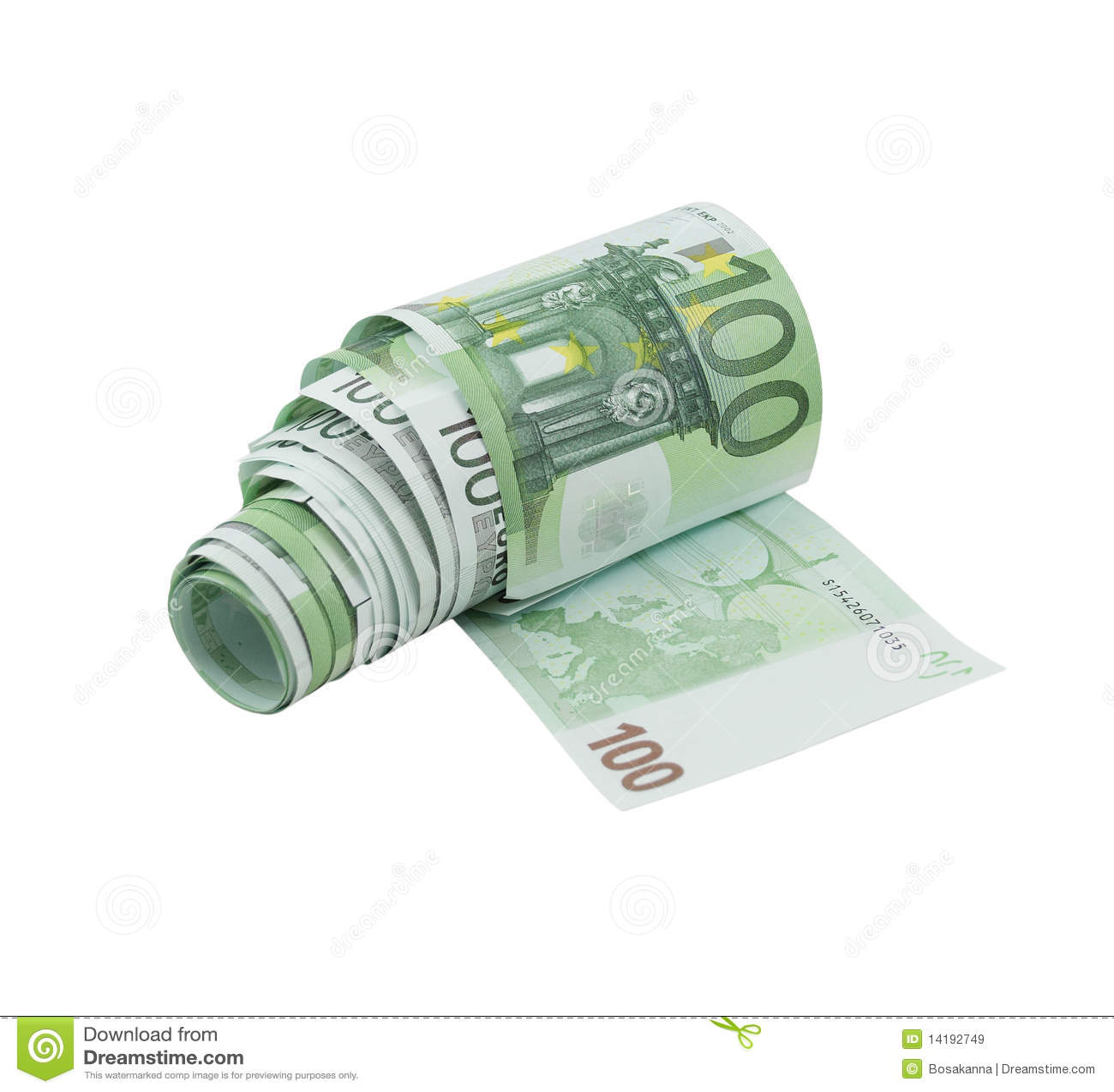 Download Dj Dollar Bill: 100-Euro Bill Money Toilet Paper Stock Image