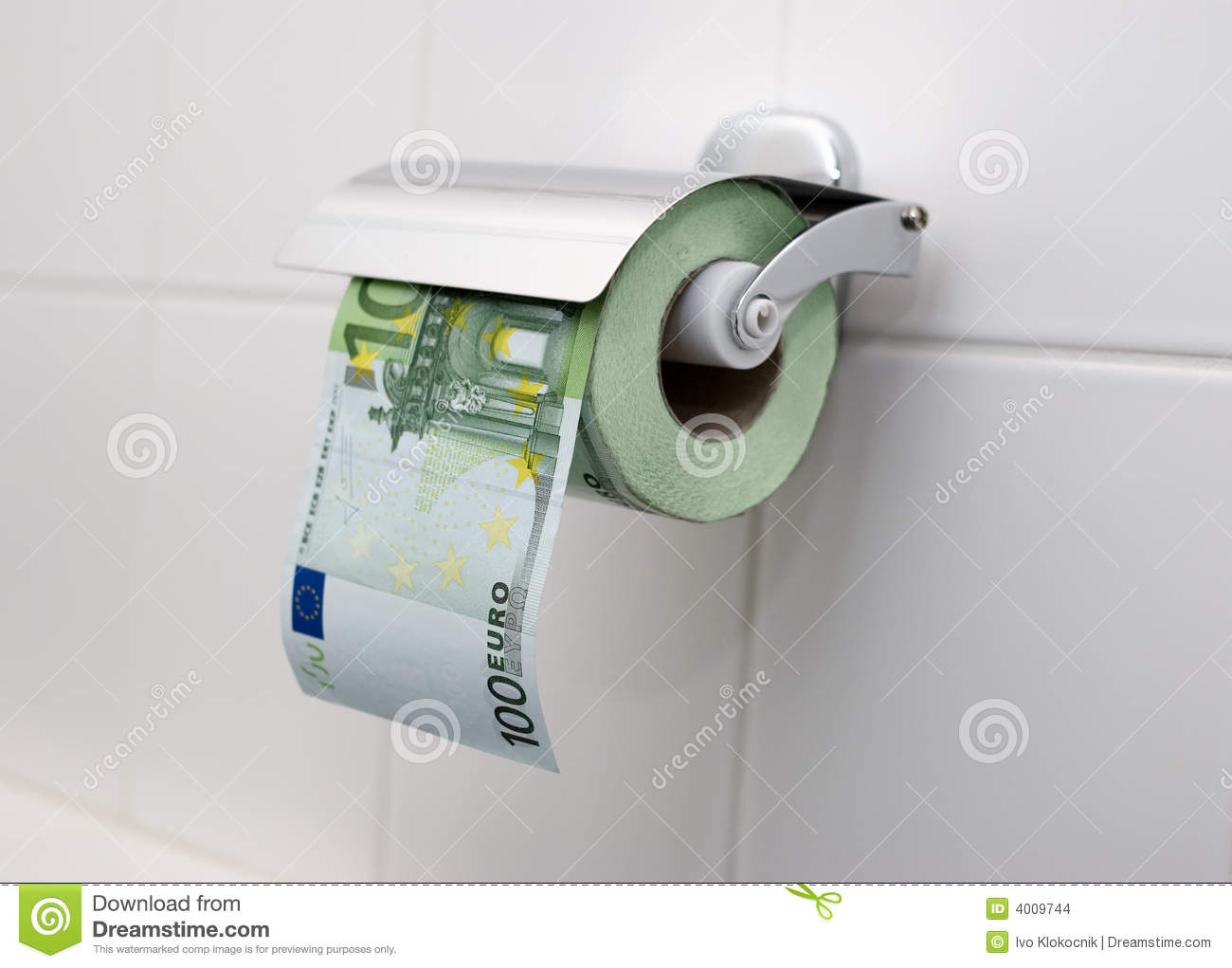 100 Euro Toilet Paper Stock Images Image 4009744