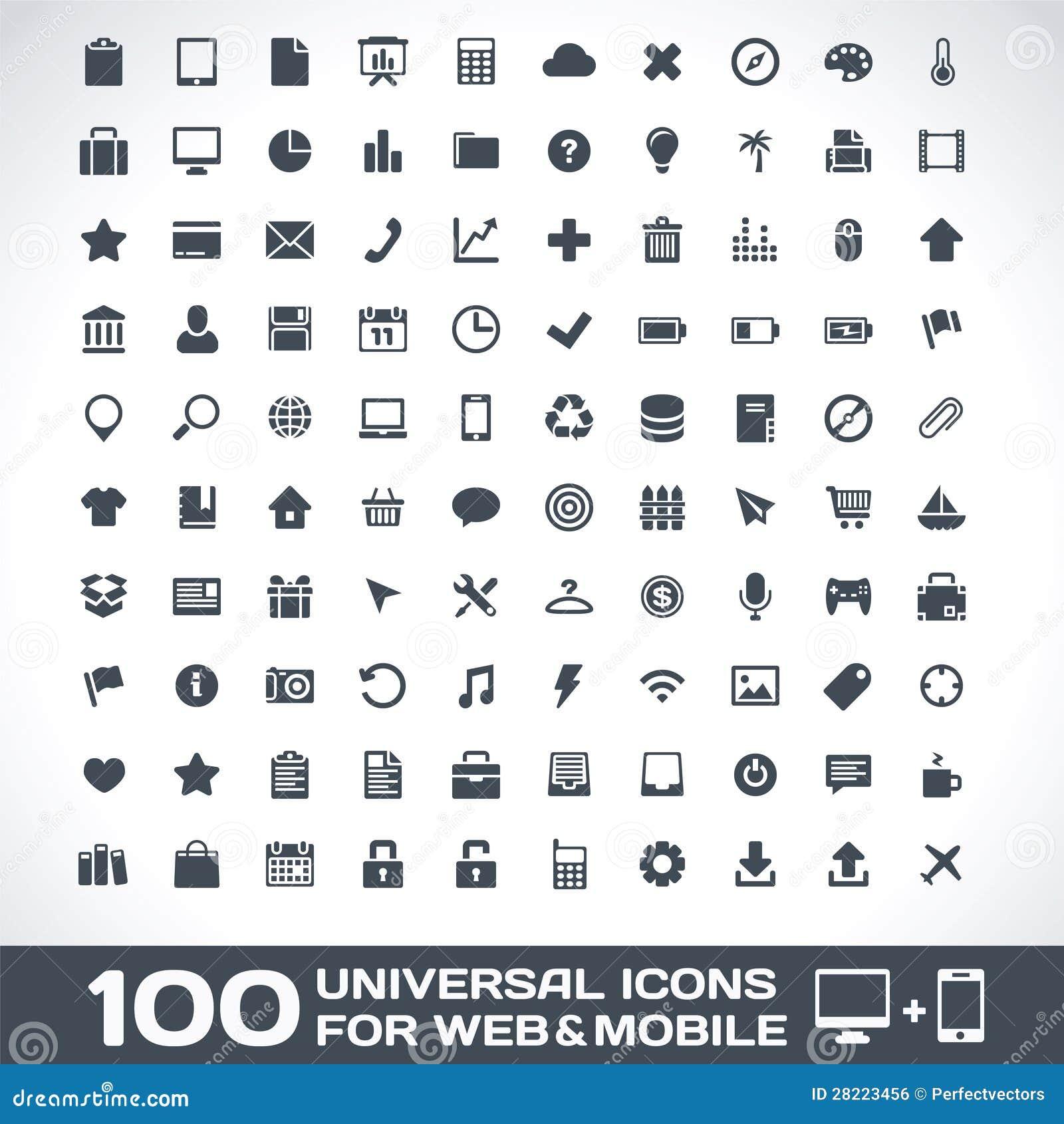 100 iconos universales para el Web y el móvil