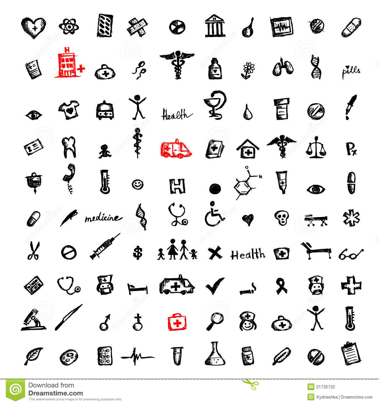 100 medical icons  sketch for your design stock