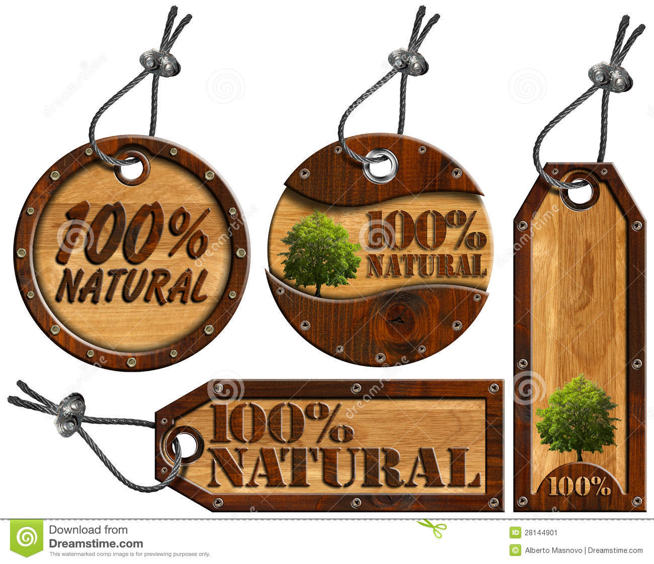 100% Natural - Wooden Tags - 4 Items Stock Illustration