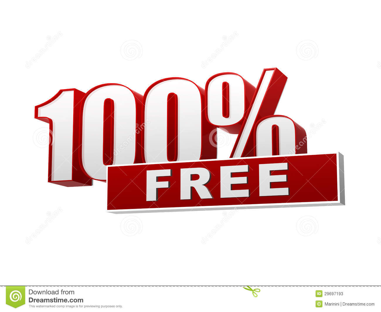 100 percentages free red white banner letters and block stock