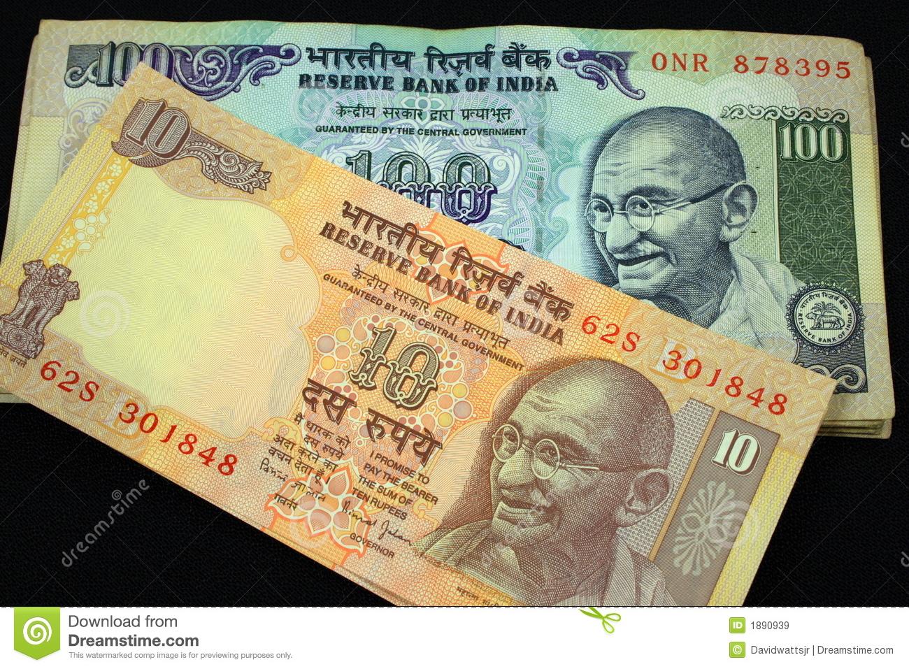 100 Rupees Note & 10 Rupees Note Stock Image - Image of