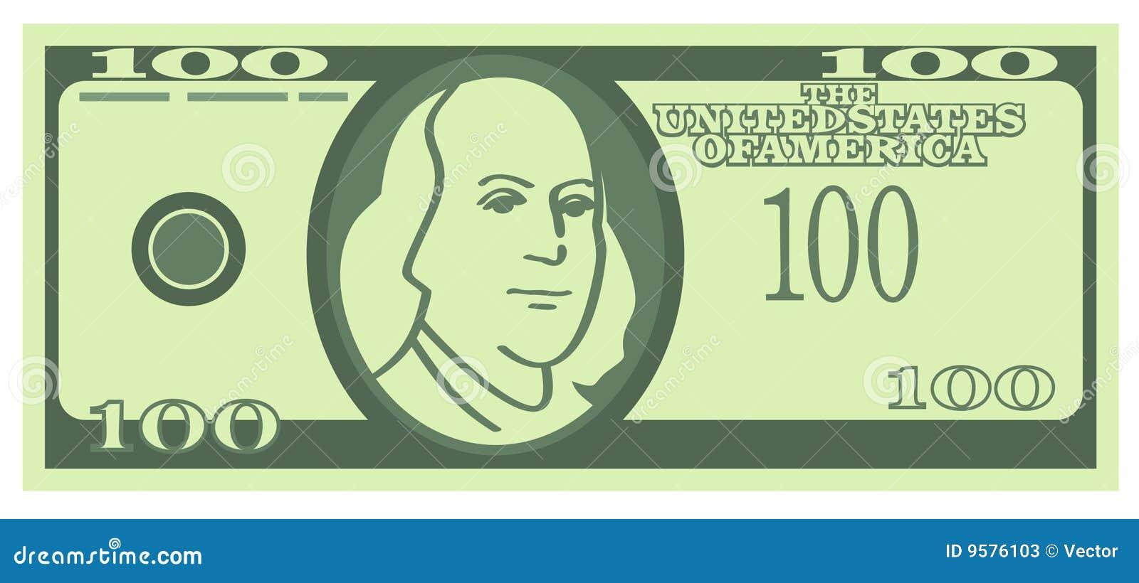 100 U.S. Dollars Banknote (Vector) Stock Photos