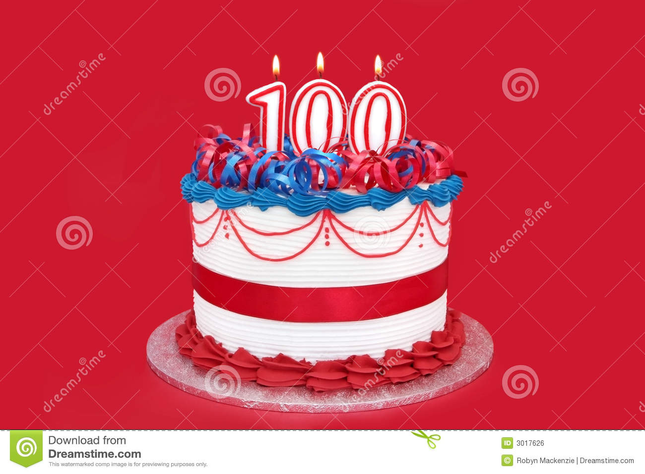 100th Cake With Numeral Candles On Vibrant Red Background