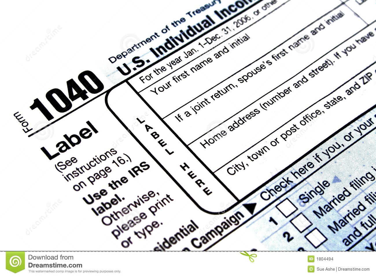 1040 Tax Form Editorial Stock Image Image Of Form Payment 1804494