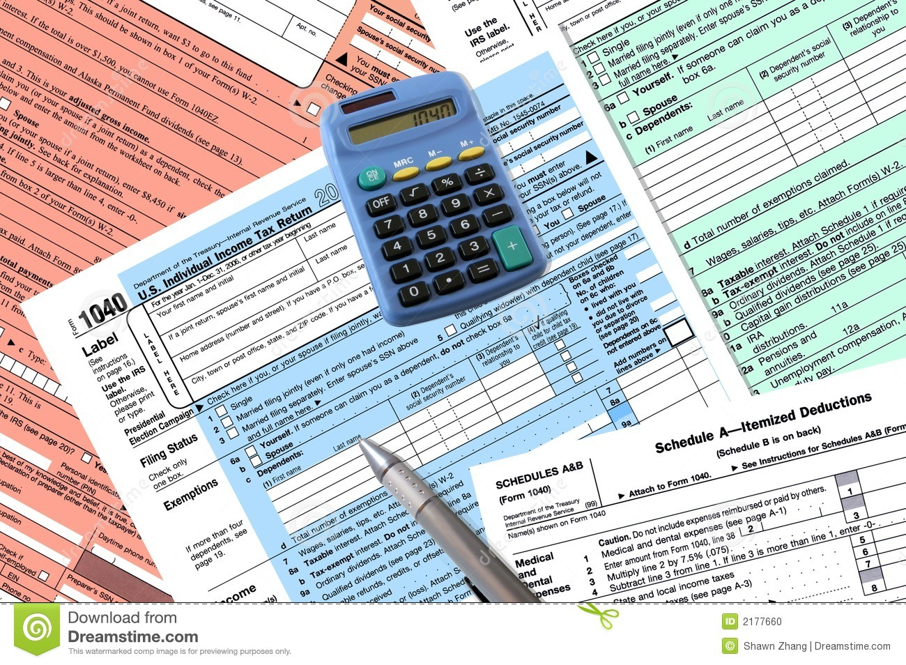 1040 tax return forms stock photo image 2177660 for 1040 tax table calculator