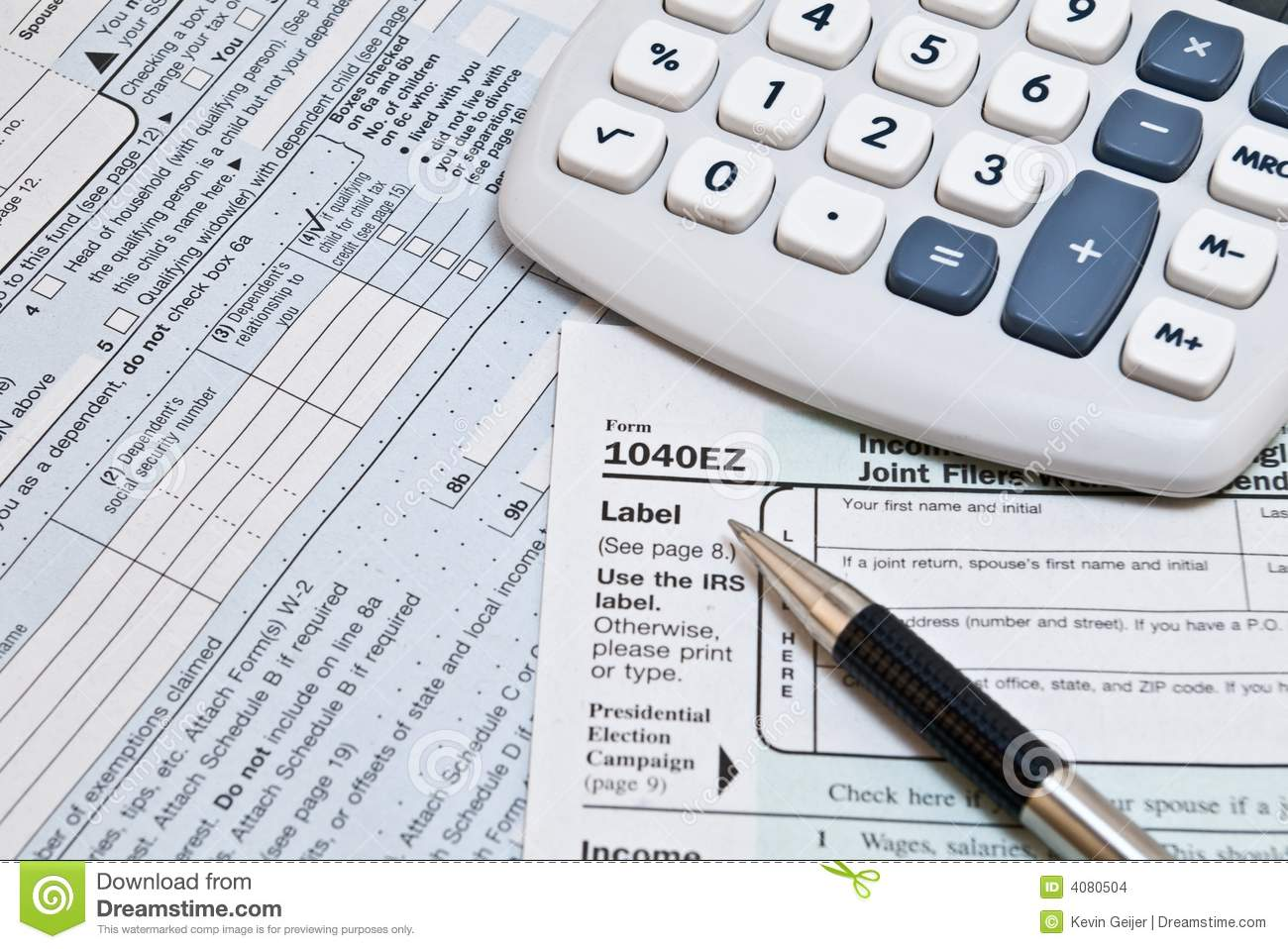 1040ez Irs Forms Stock Photo Image Of Internal Calculator 4080504