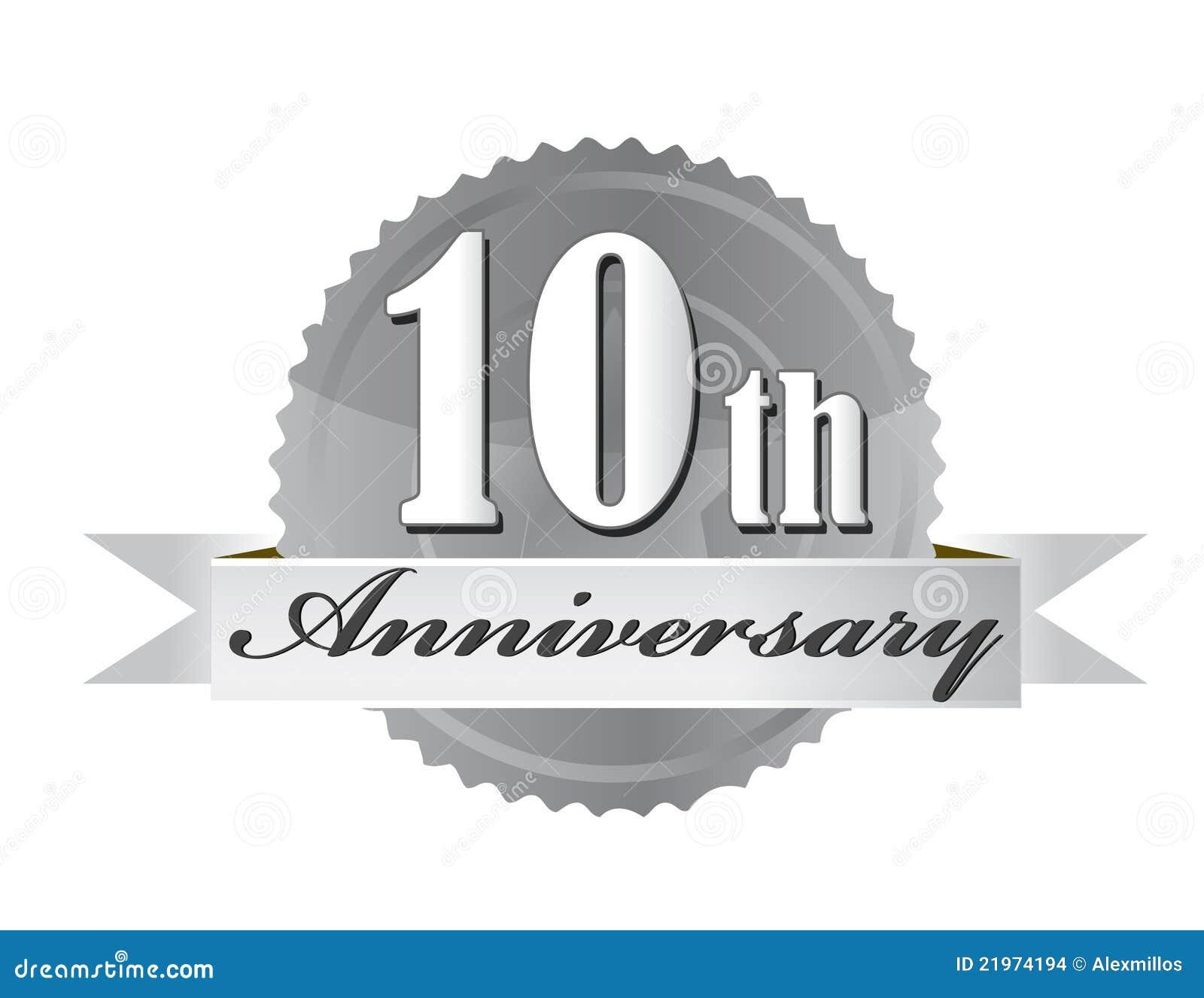 10th Anniversary Seal Illustration Design Stock Vector