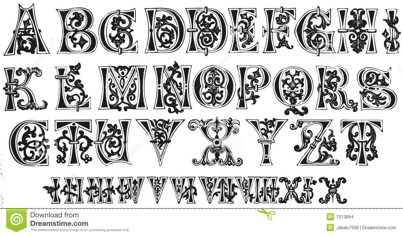 11th Century Initials And Roman Numerals Stock ... Roman Numeral Script Fonts