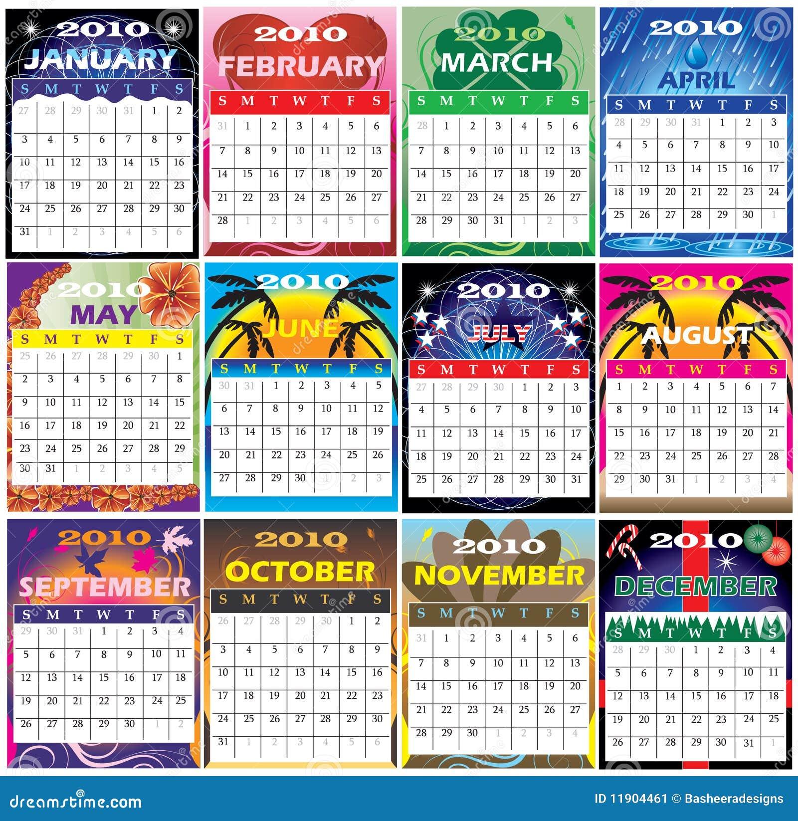 12 2010 kalendarza ustawiają o temacie