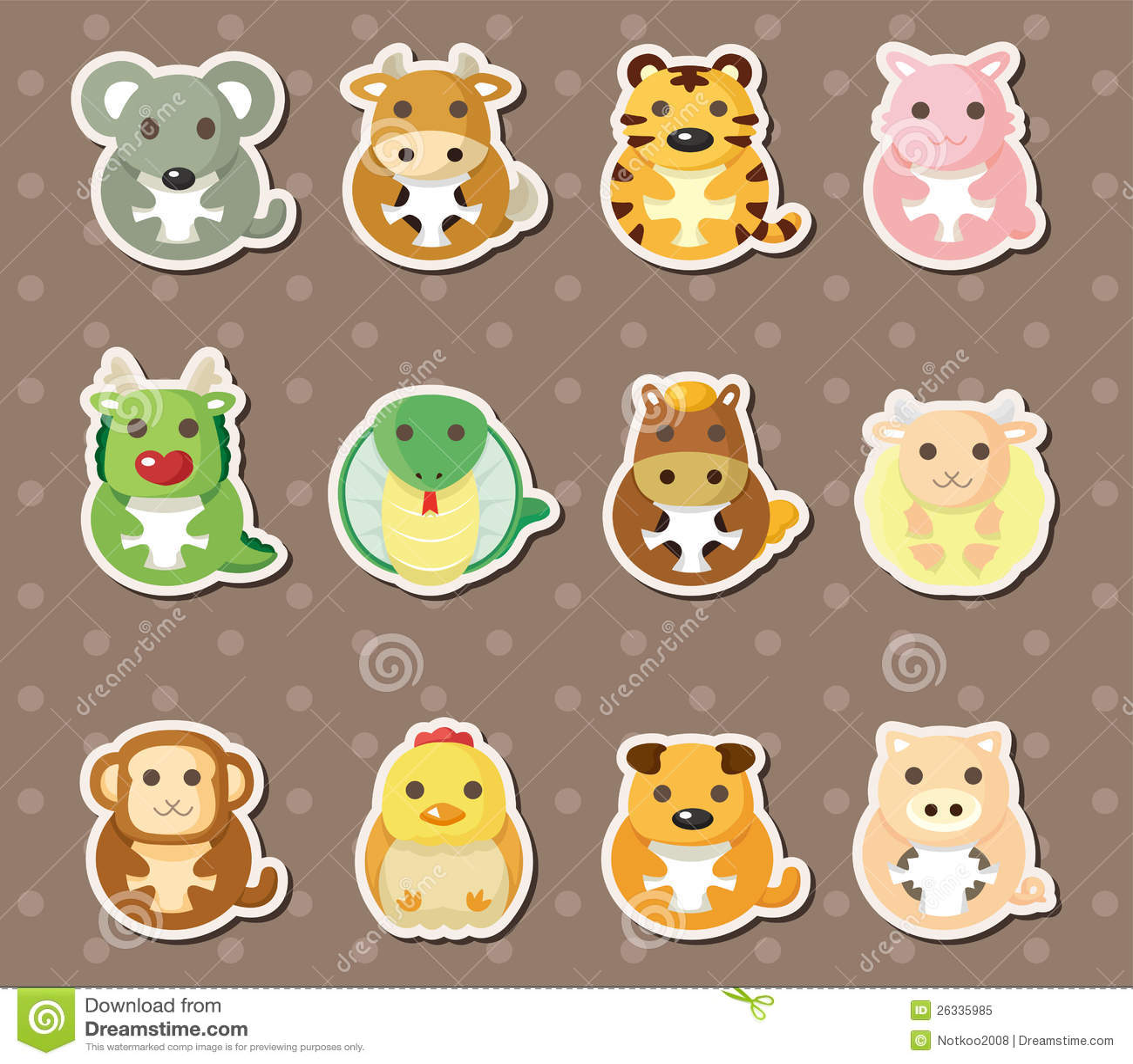 12 Chinese Zodiac Animal Stickers Royalty Free Stock Photo - Image ...