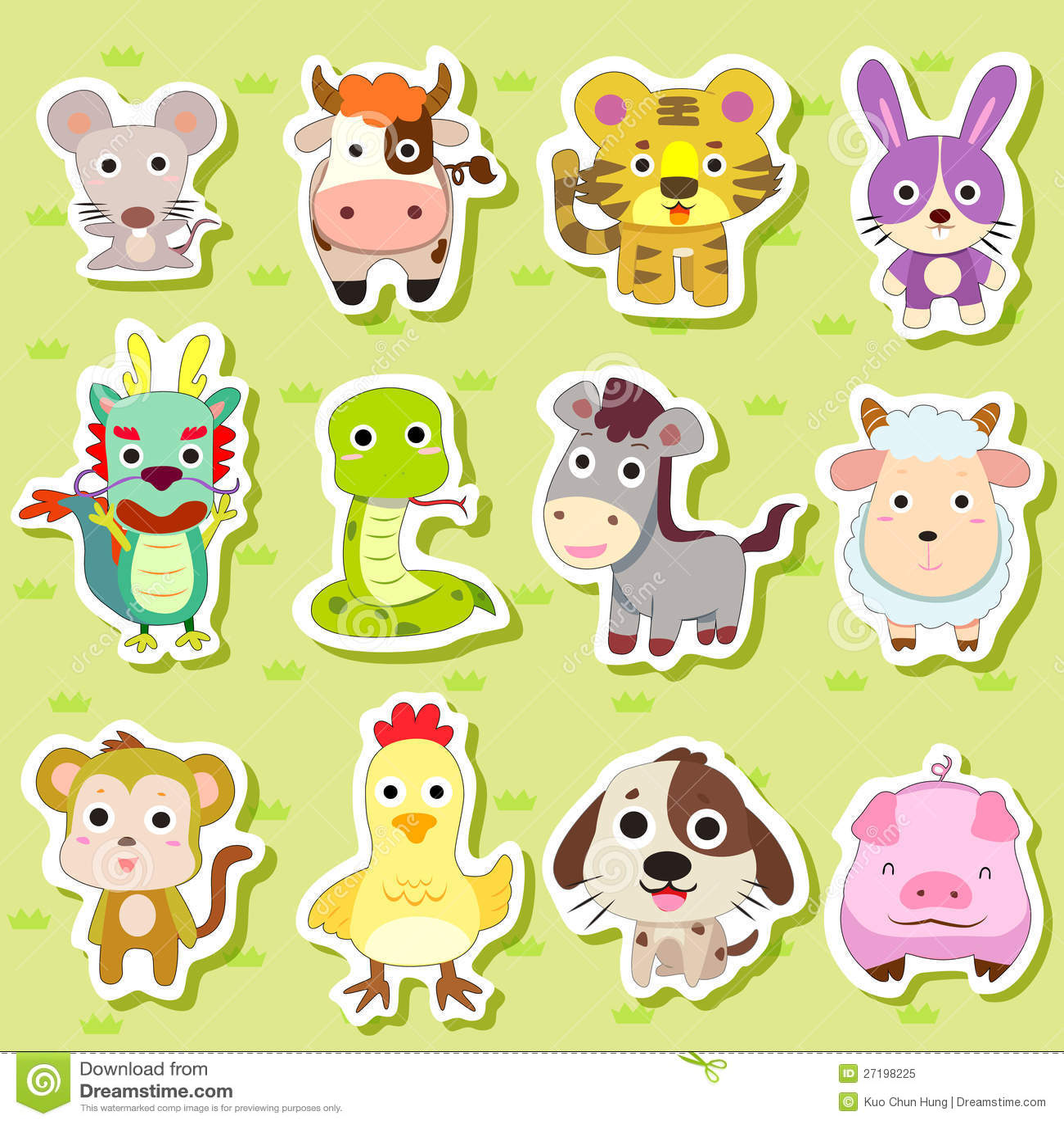 12 Chinese Zodiac animal stickers,cartoon vector illustration.