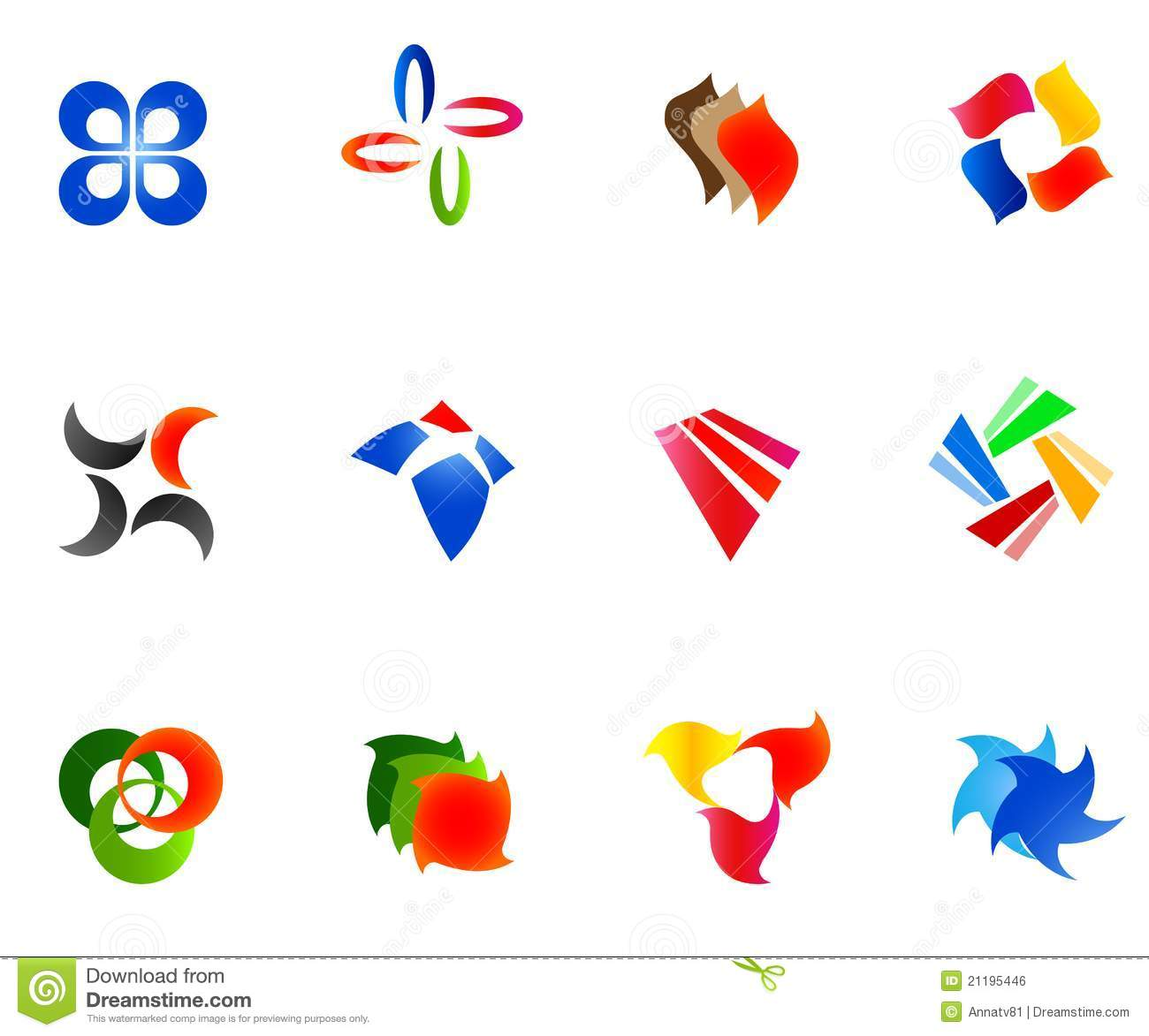 12 colorful vector symbols: (set 9)