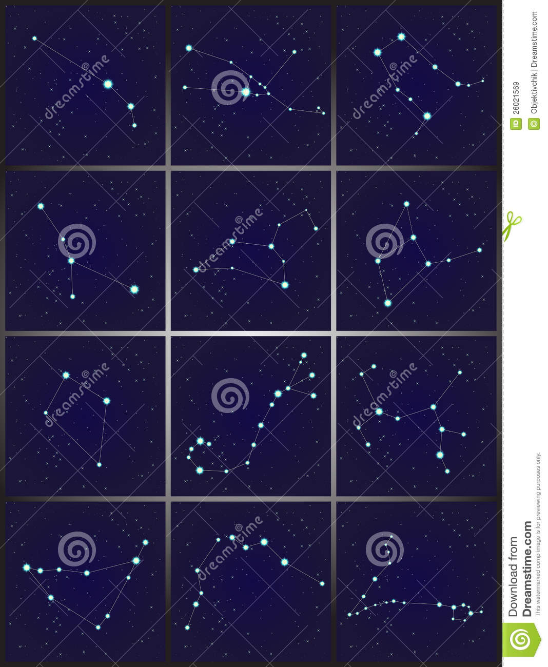 12 Constellations Set Royalty Free Stock Images Image