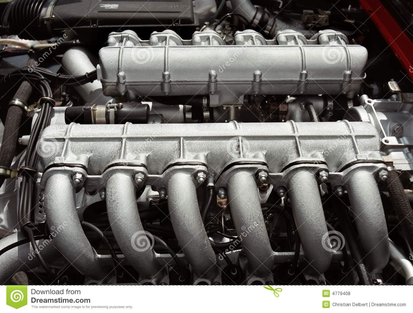 12 Cylinder Race Car Engine Royalty Free Stock Photos