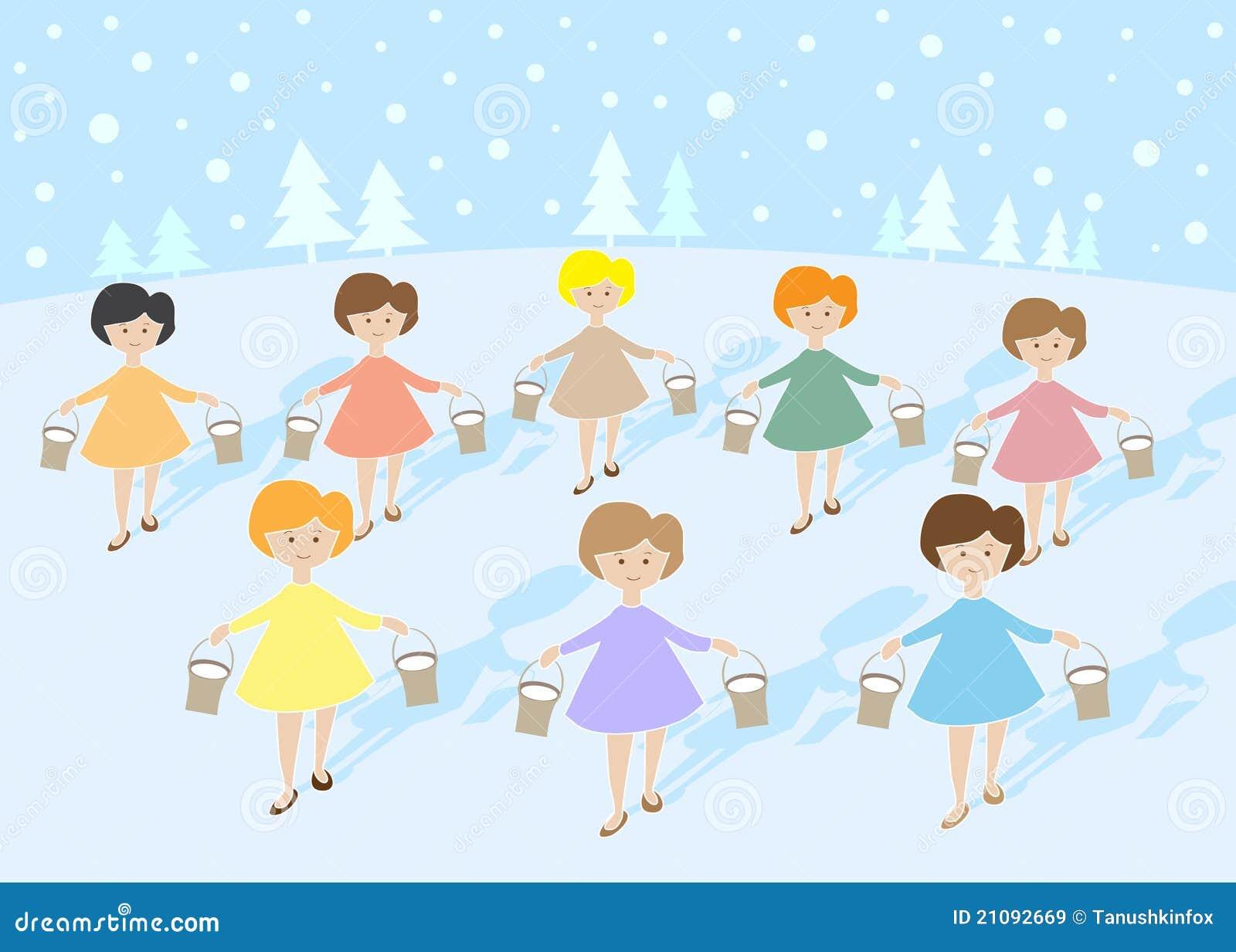 12 dagen van Kerstmis: 8 meisjes het Melken