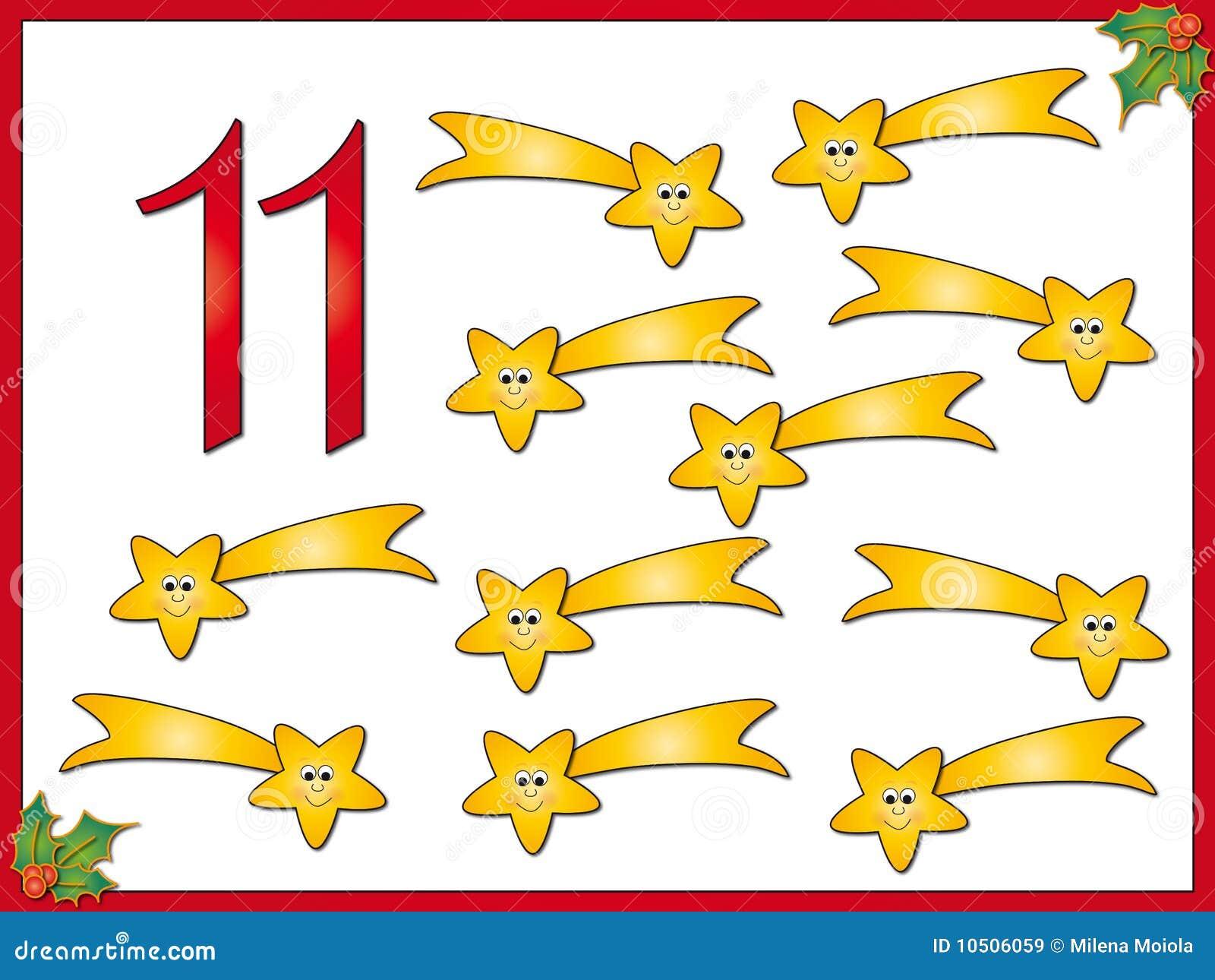 12 Days Of Christmas 11 Comet Stock Illustration Illustration Of