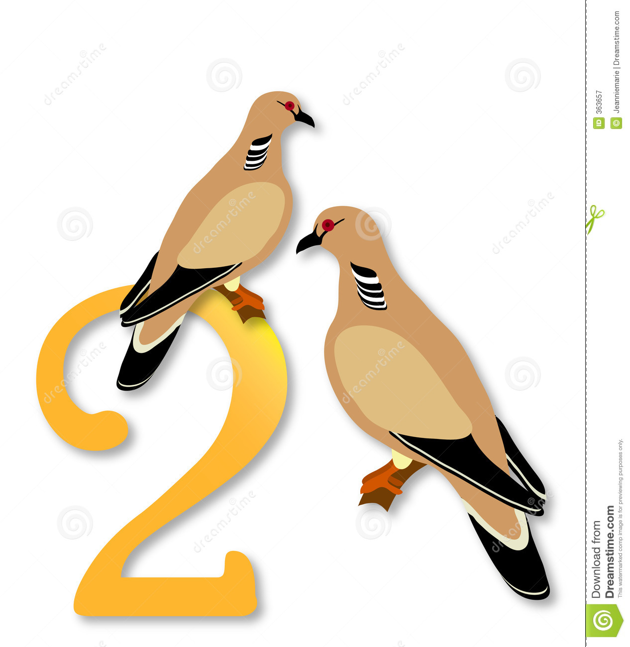 12 Days Of Christmas: 2 Turtle Doves Royalty Free Stock ...