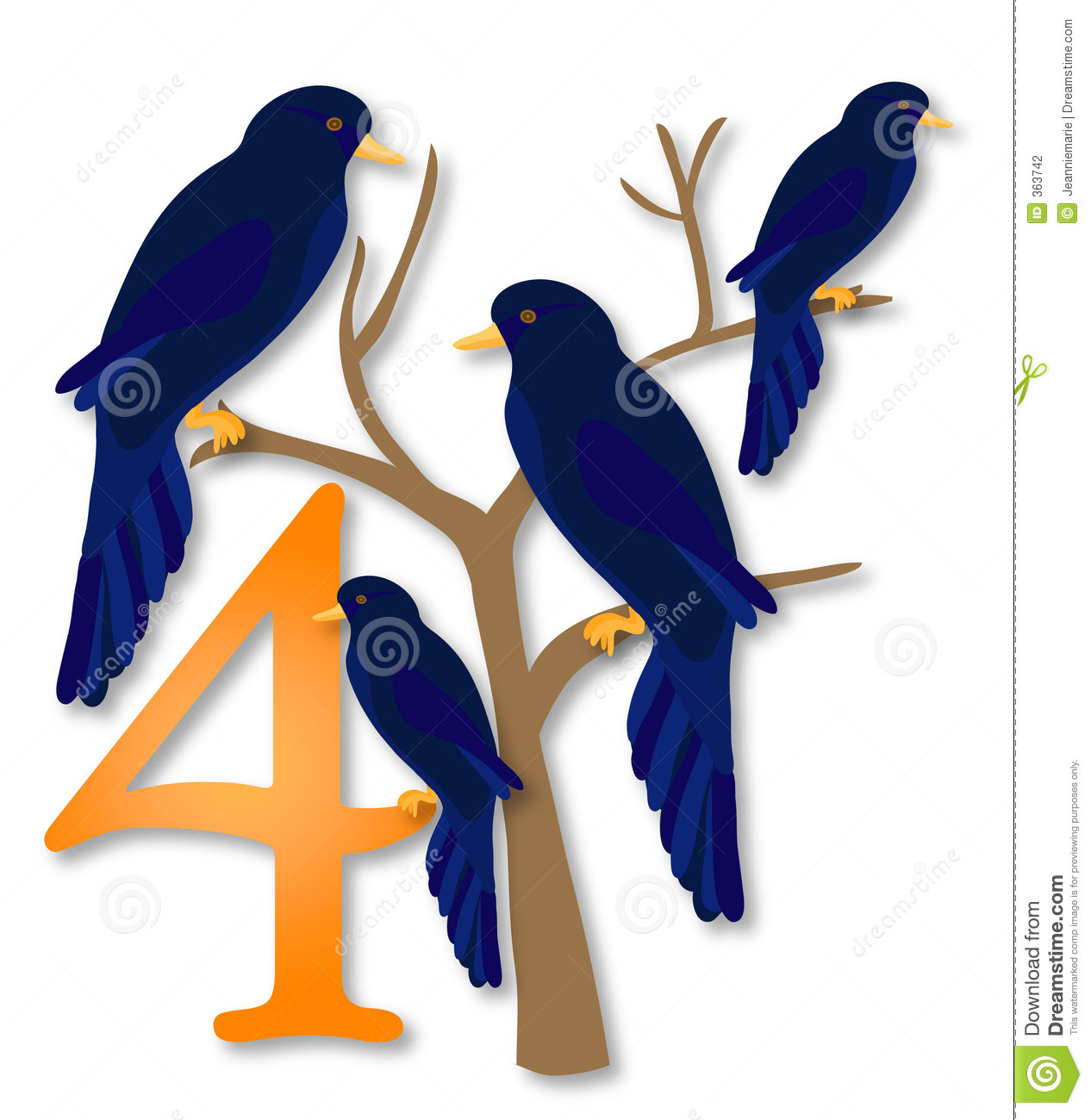 12 days of christmas 2 turtle doves stock illustration