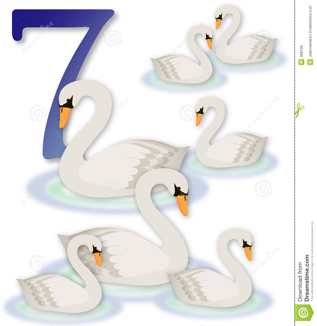 12 Days Of Christmas: 7 Swans A Swimming Royalty Free Stock Photos ...