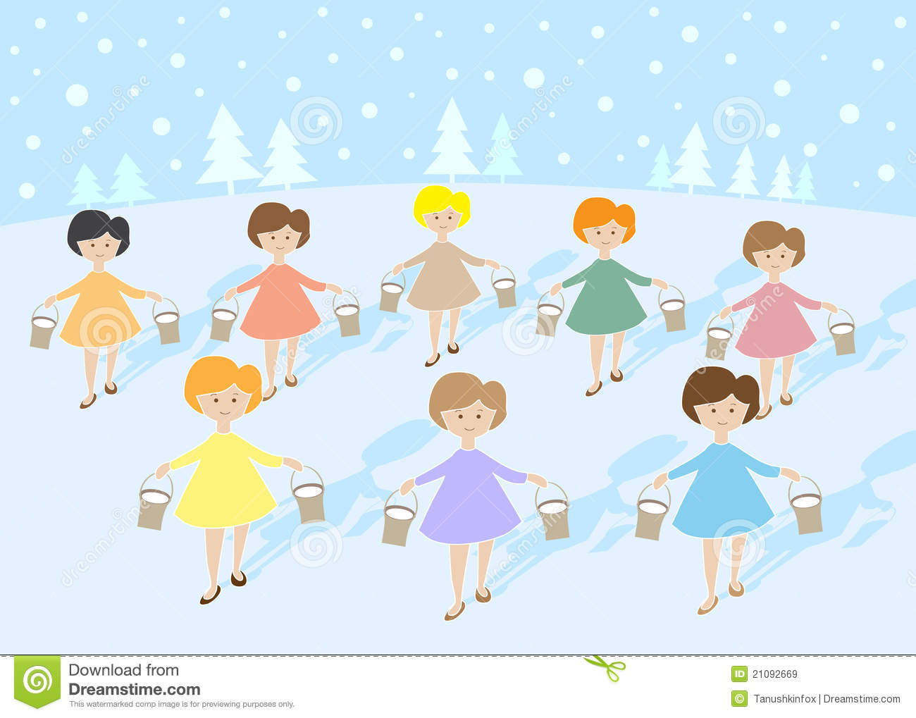 Calling Birds 12 Days Christmas >> 12 Days Of Christmas: 8 Maids A Milking Royalty Free Stock Images - Image: 21092669