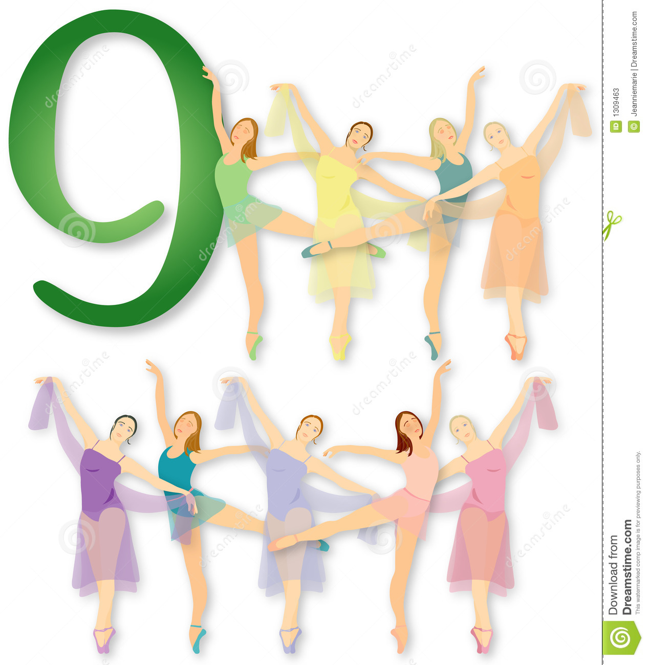 12 Days Of Christmas: 9 Ladies Dancing Stock Photos - Image: 1309463