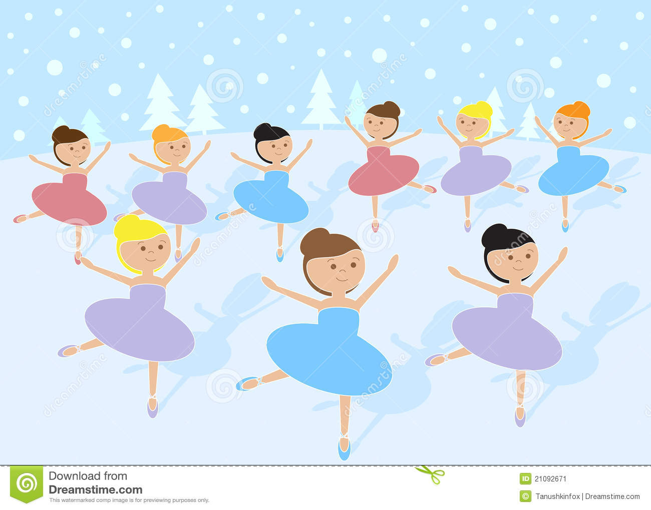 12 Days Of Christmas: 9 Ladies Dancing Stock Image - Image: 21092671