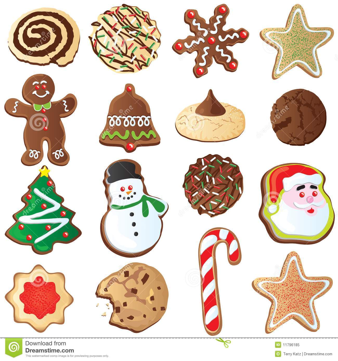 12 Days Of Cute Christmas Cookies Stock Vector Illustration Of