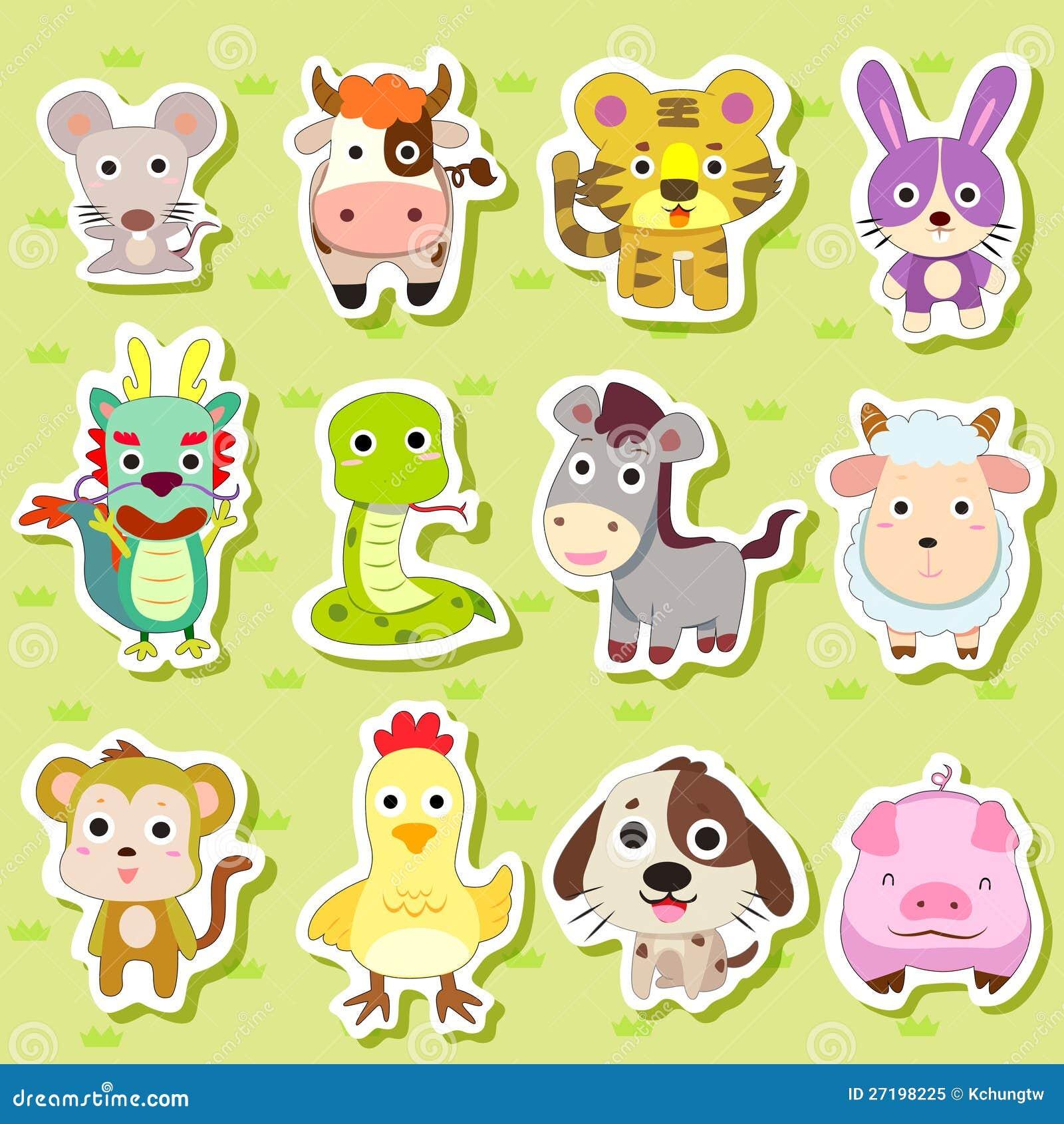 12 kinesiska Zodiacdjuretiketter