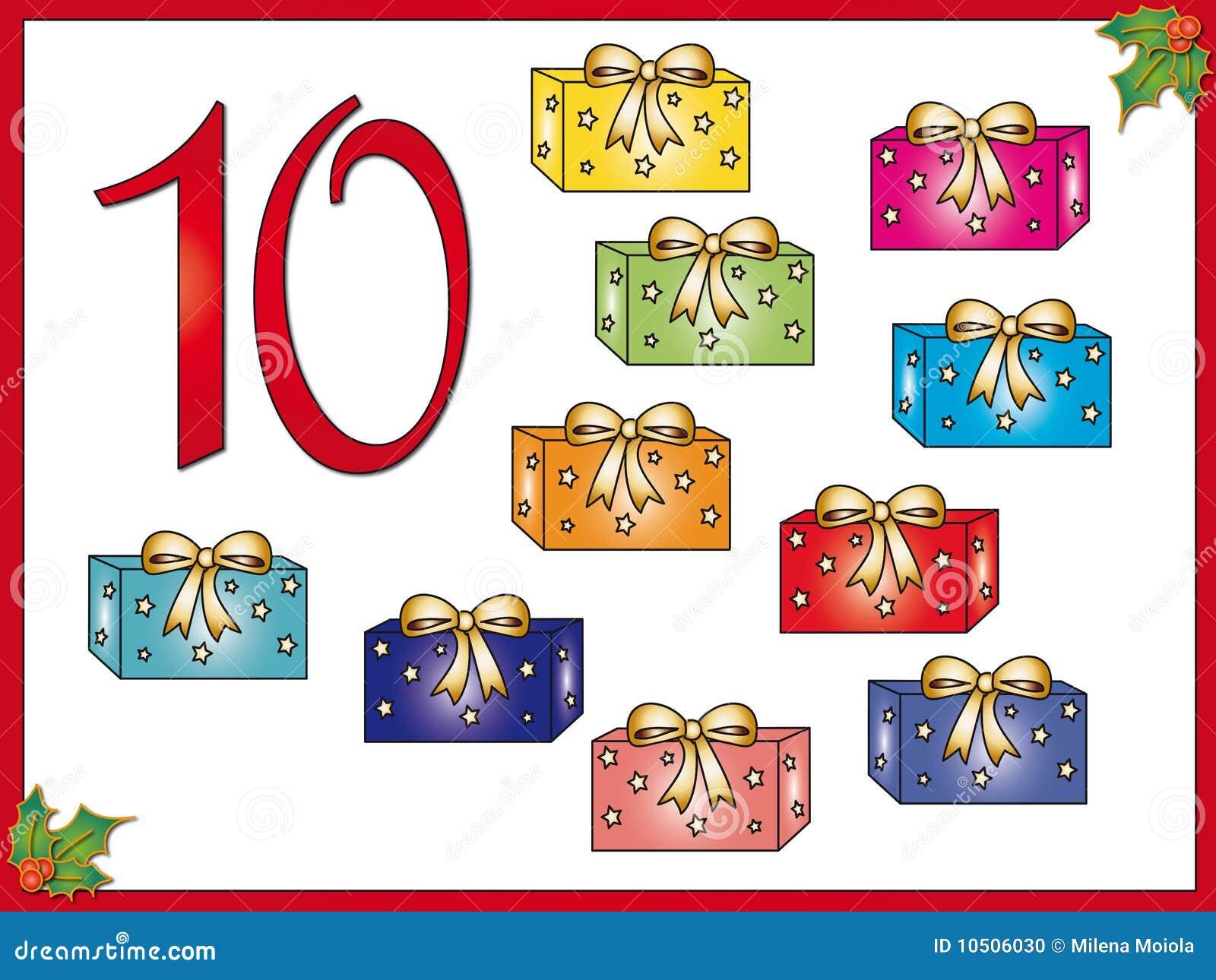 12 Tage Weihnachten: 10 Geschenke Stock Abbildung - Illustration von ...