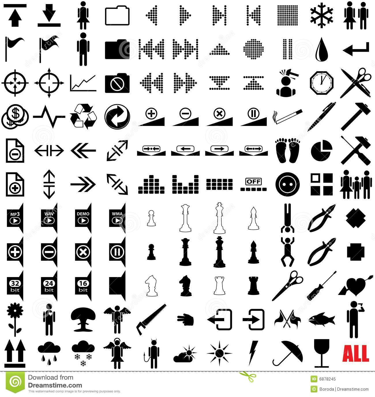 121 vector pictograms  royalty free stock photo