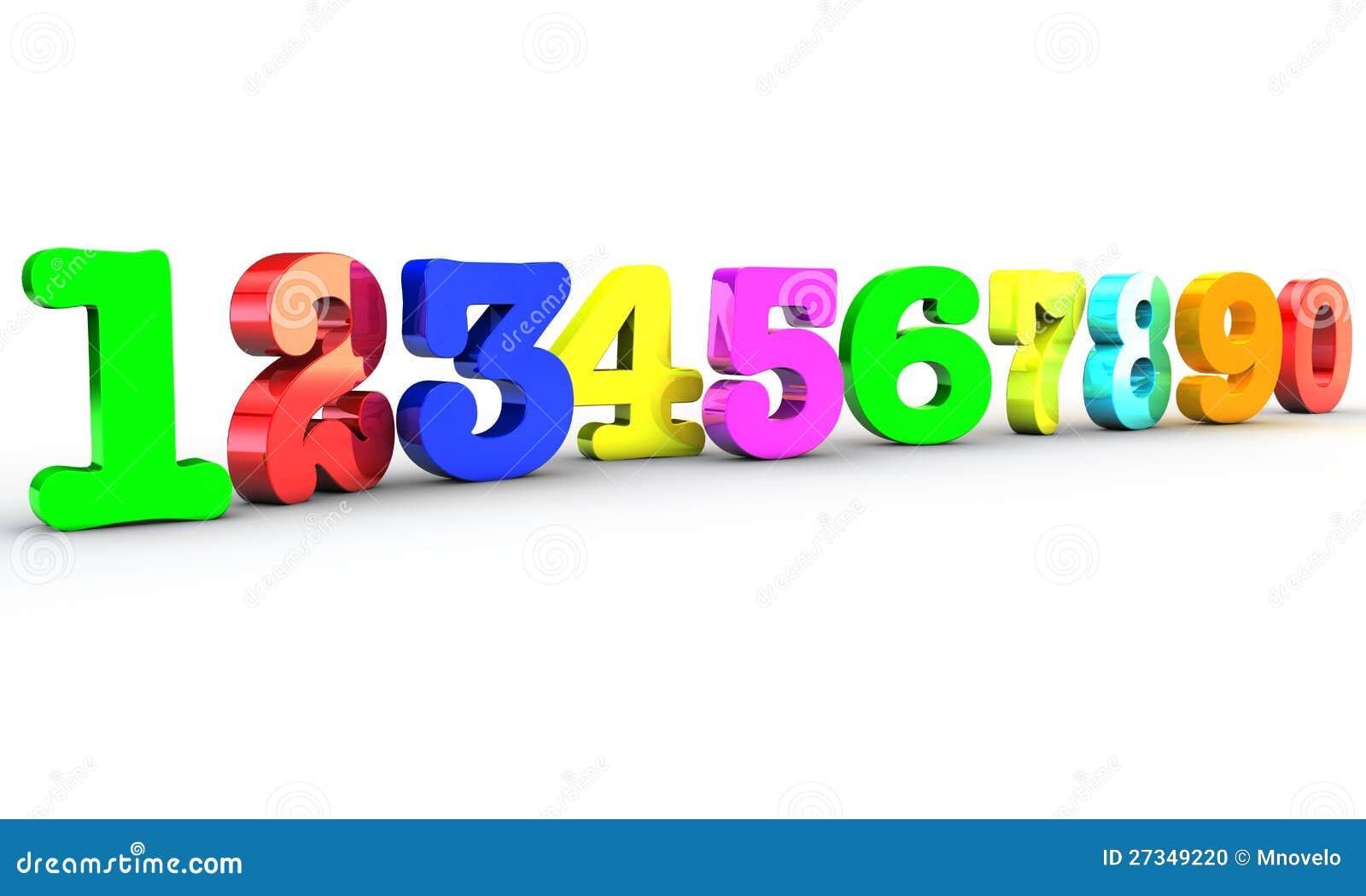 123 Multicolor номера над белой предпосылкой
