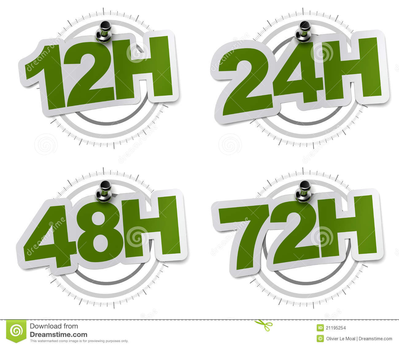 12H, 24H, 48H, 72H green stickers