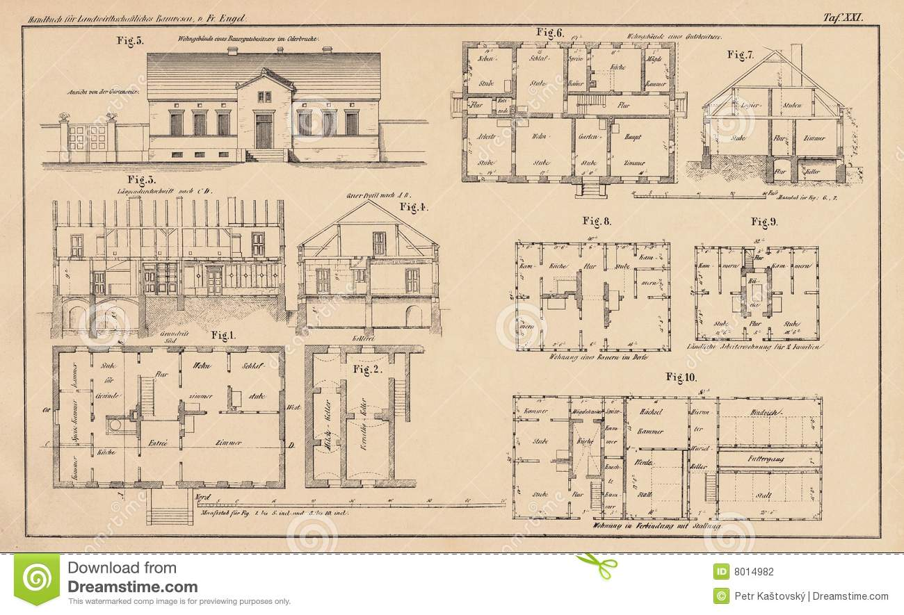 Victorian House Drawings 142 Years Old Technical Drawing Stock Photography Image