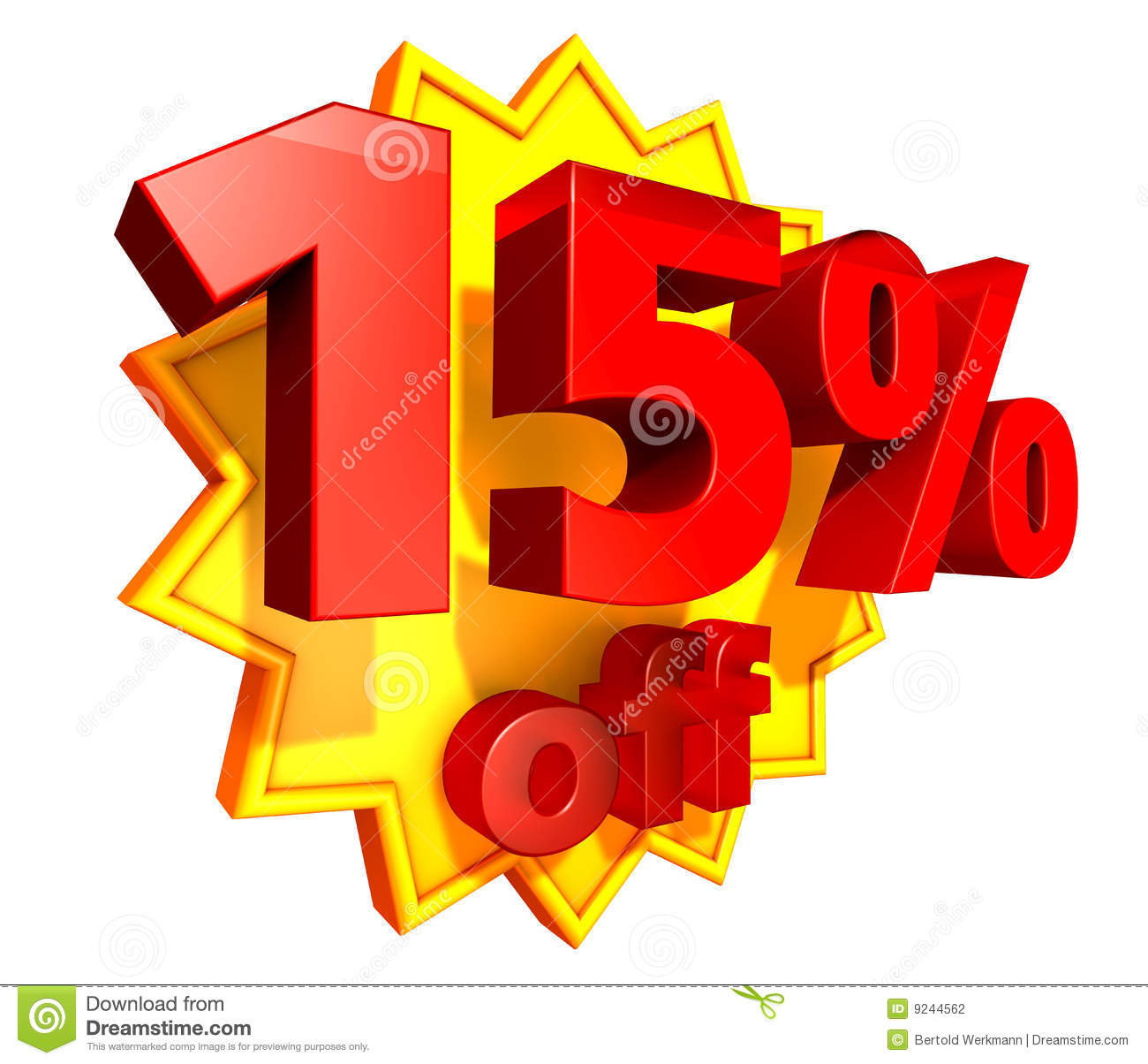15 percent price off discount stock photography