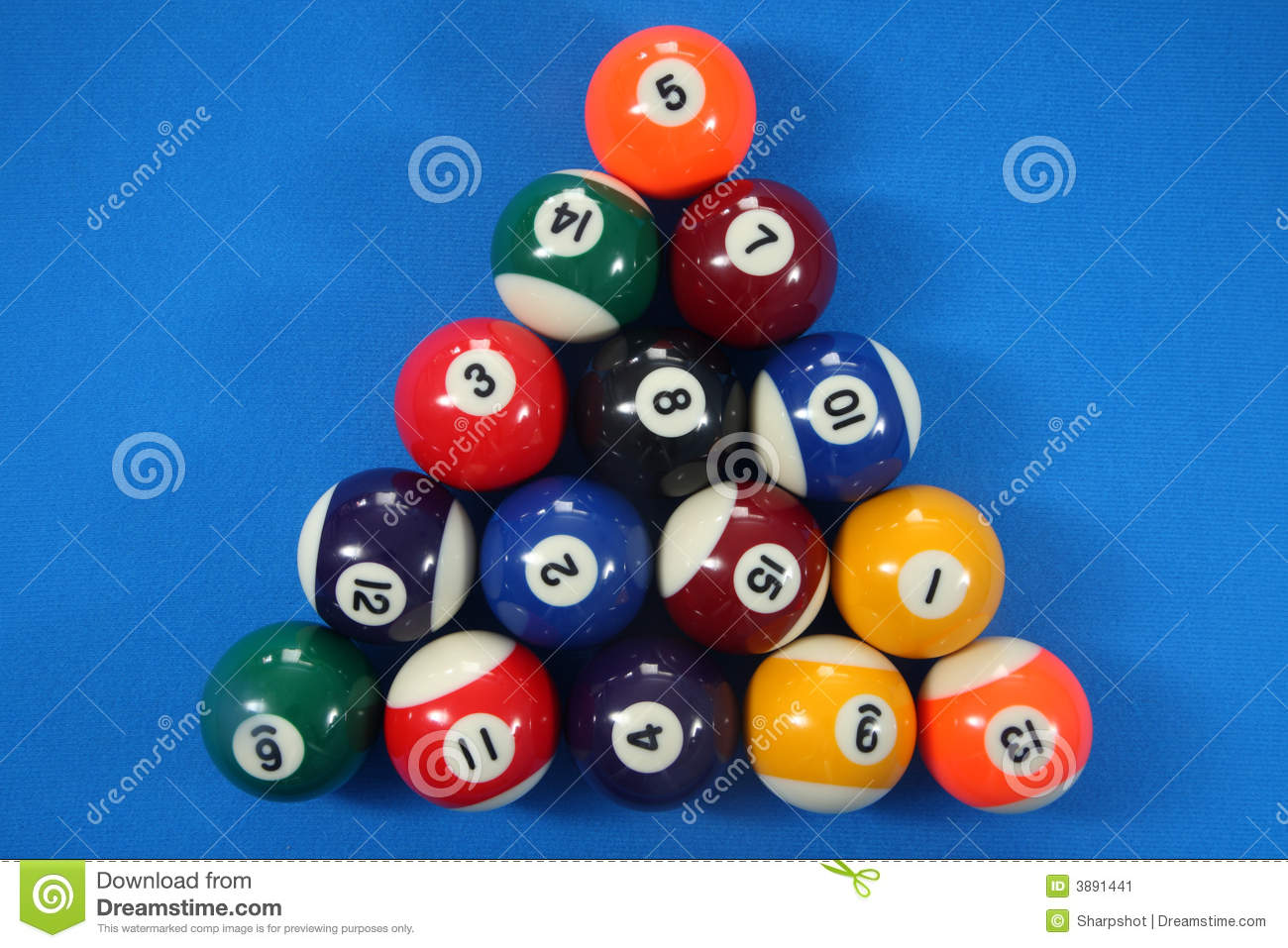 15 Spot And Stripes Pool Balls Stock Image Image 3891441