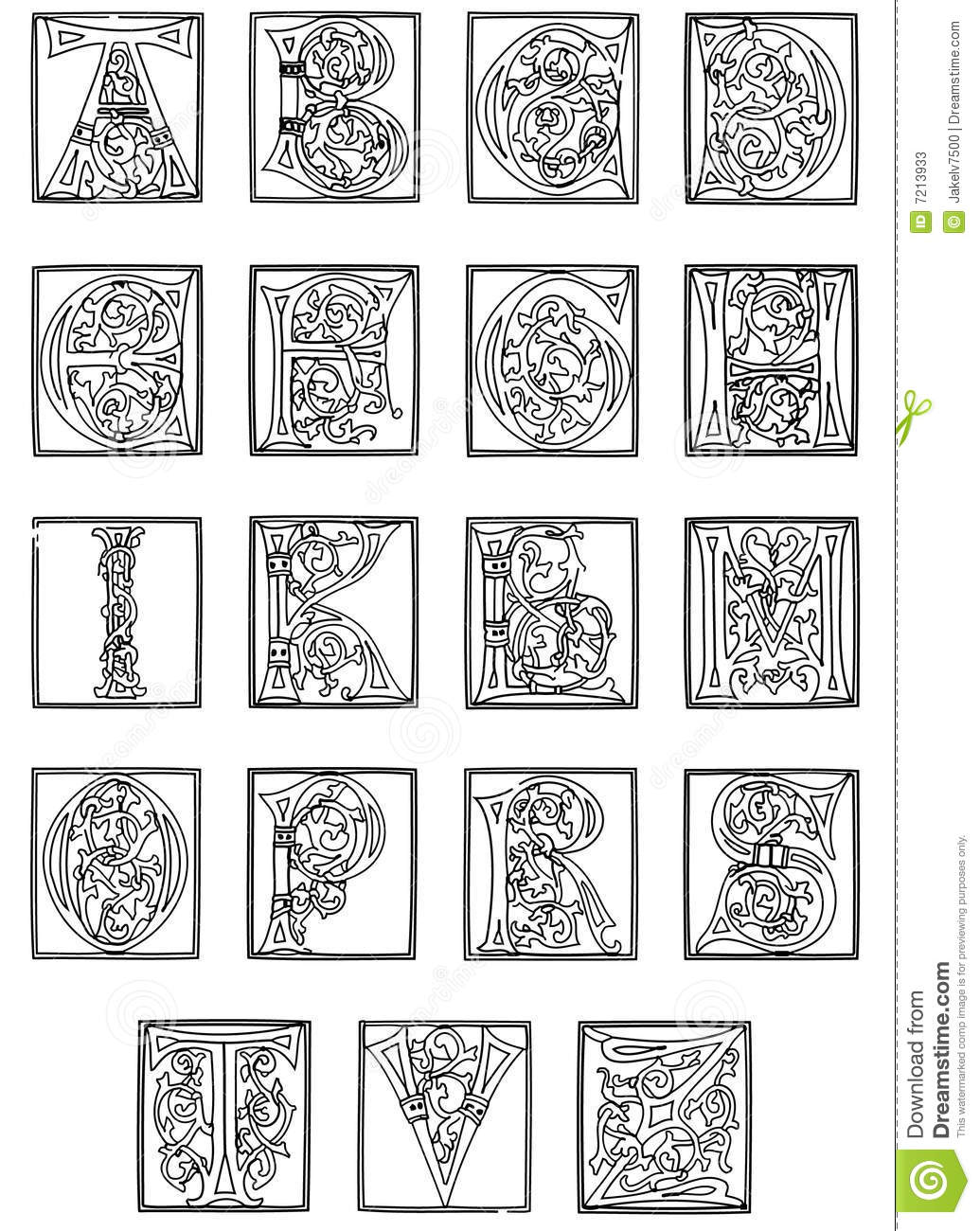 15th Century Alphabet From The Golden Bible Stock Photos - Image ...